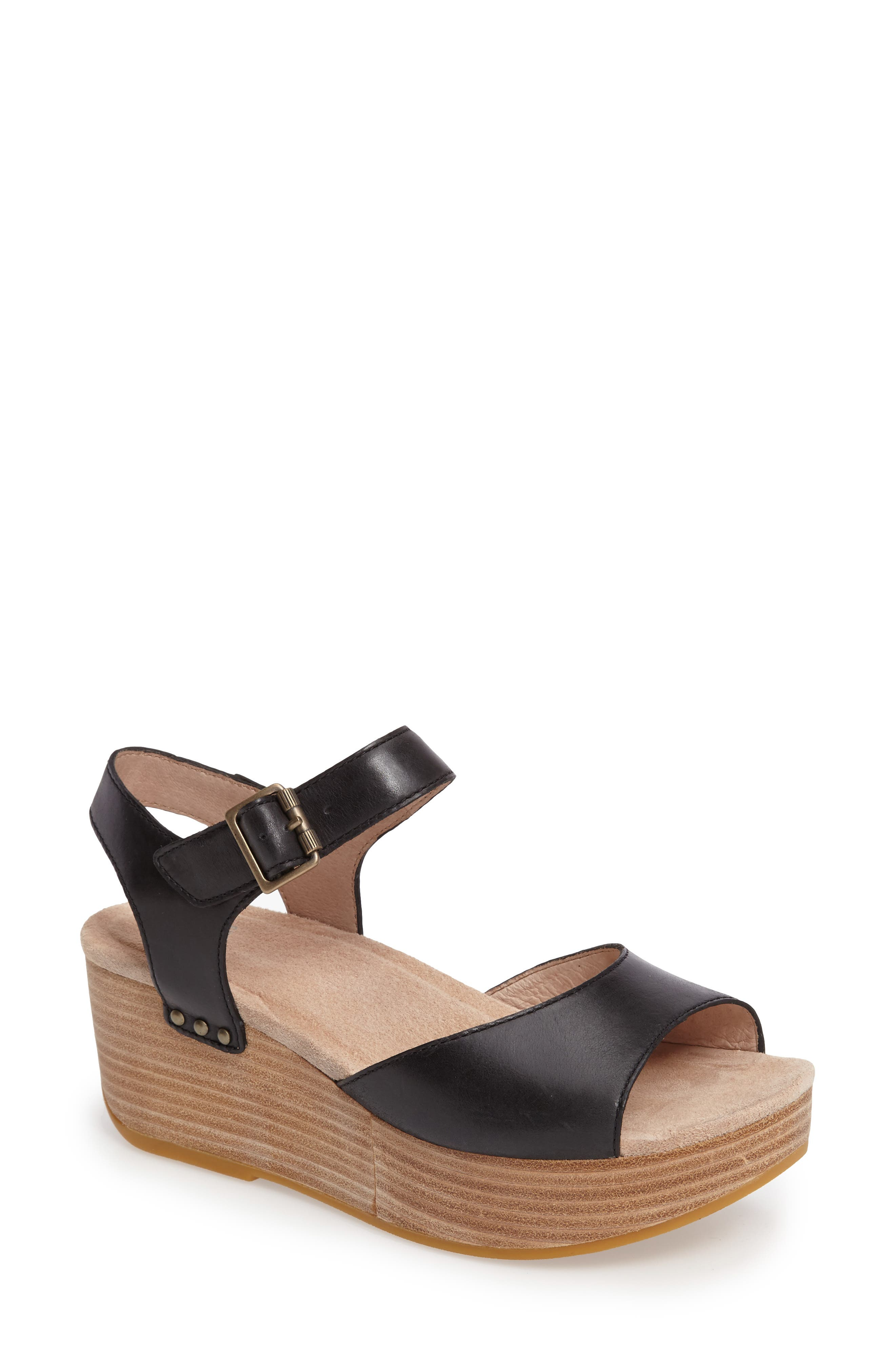 Silvie Platform Wedge Sandal,                             Main thumbnail 1, color,                             Black Leather