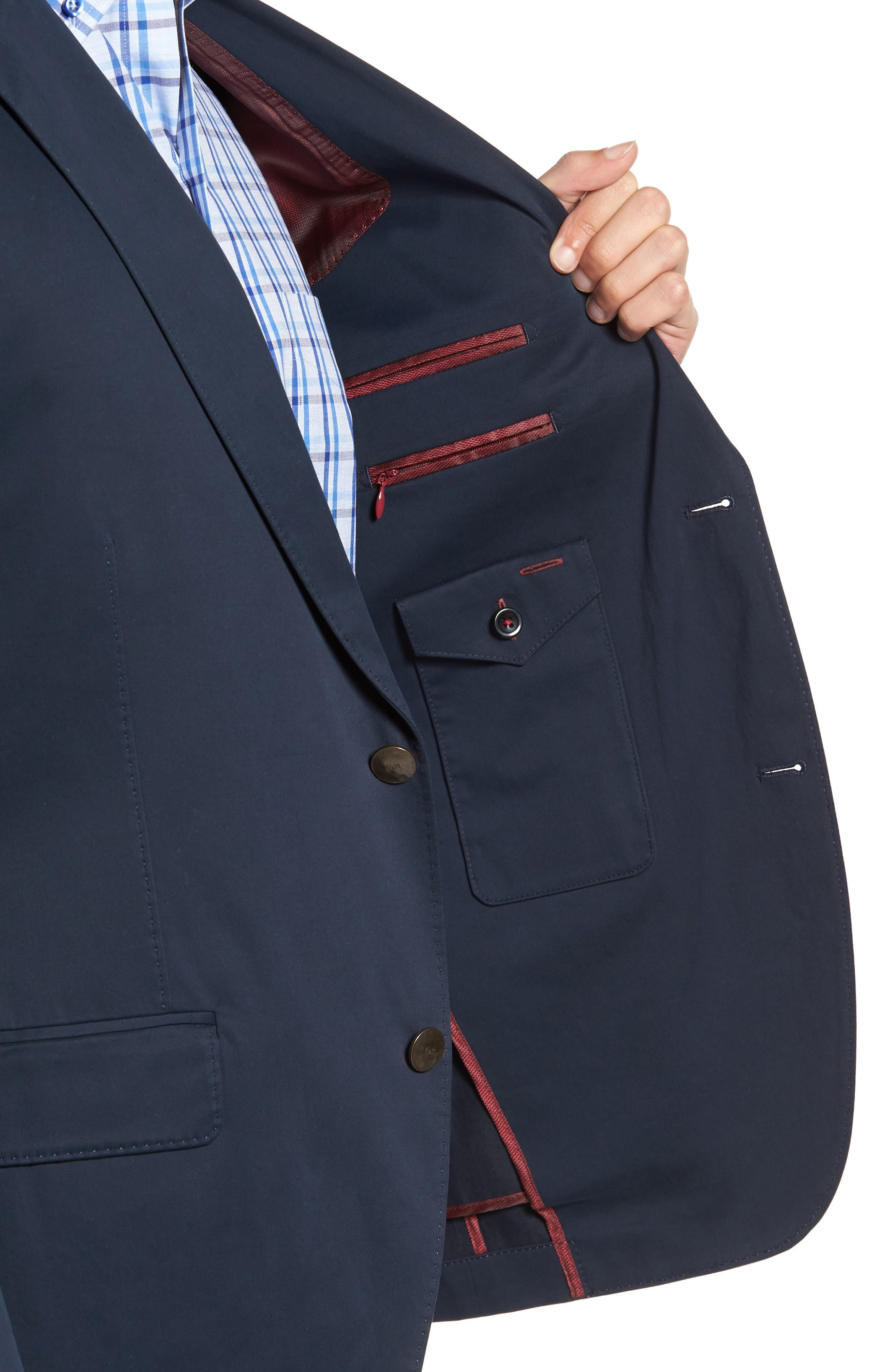 Mathis Classic Fit Stretch Cotton Blazer,                             Alternate thumbnail 4, color,                             Navy