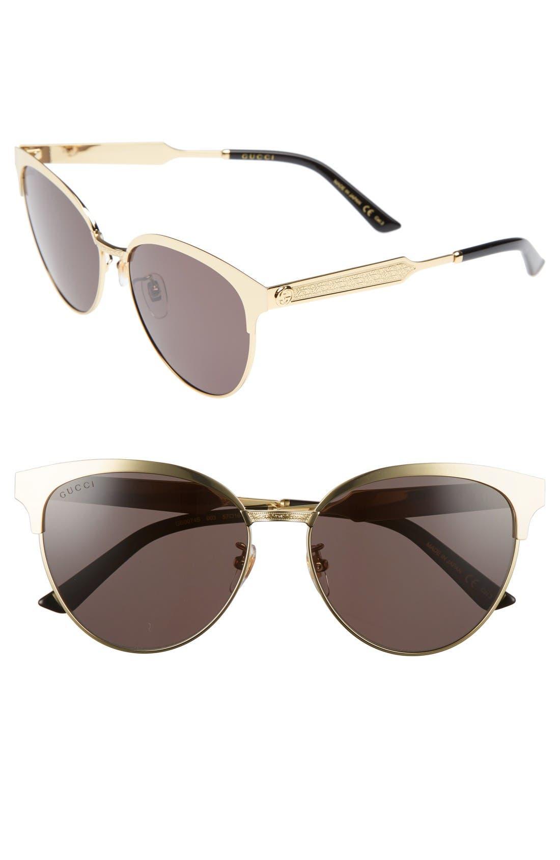 Gucci 57mm Retro Sunglasses