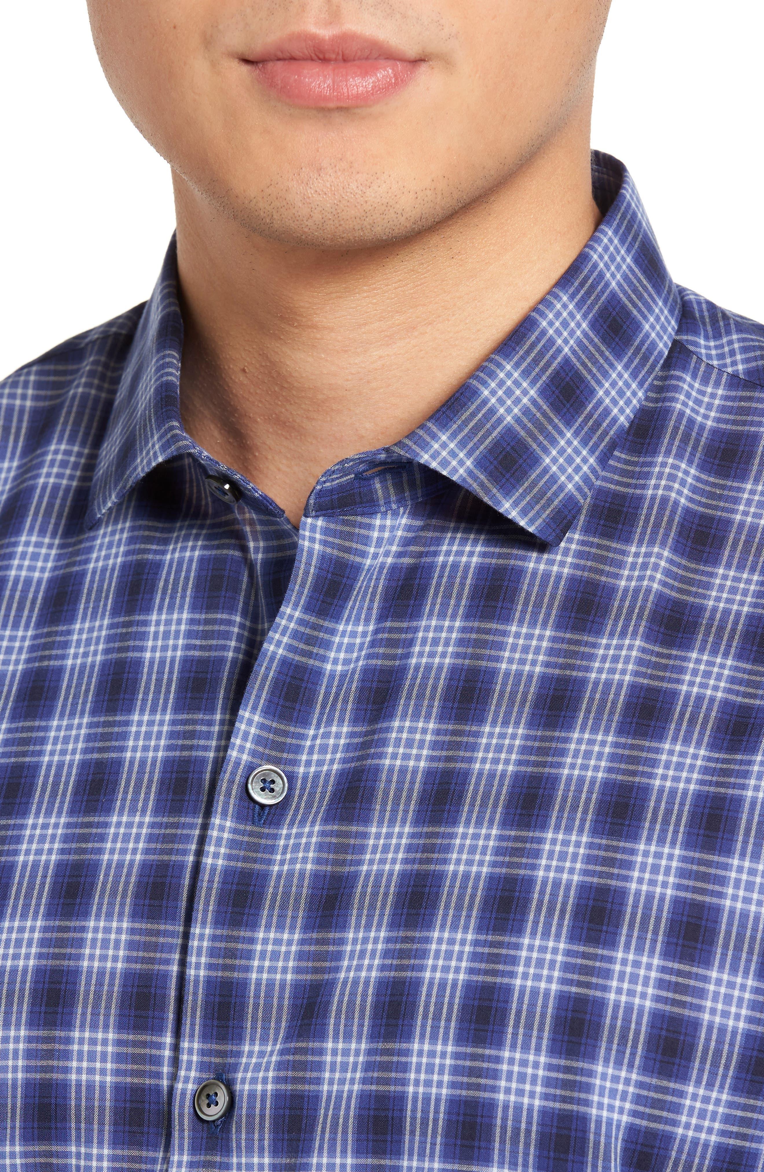 Medina Slim Fit Plaid Sport Shirt,                             Alternate thumbnail 4, color,                             Pacific