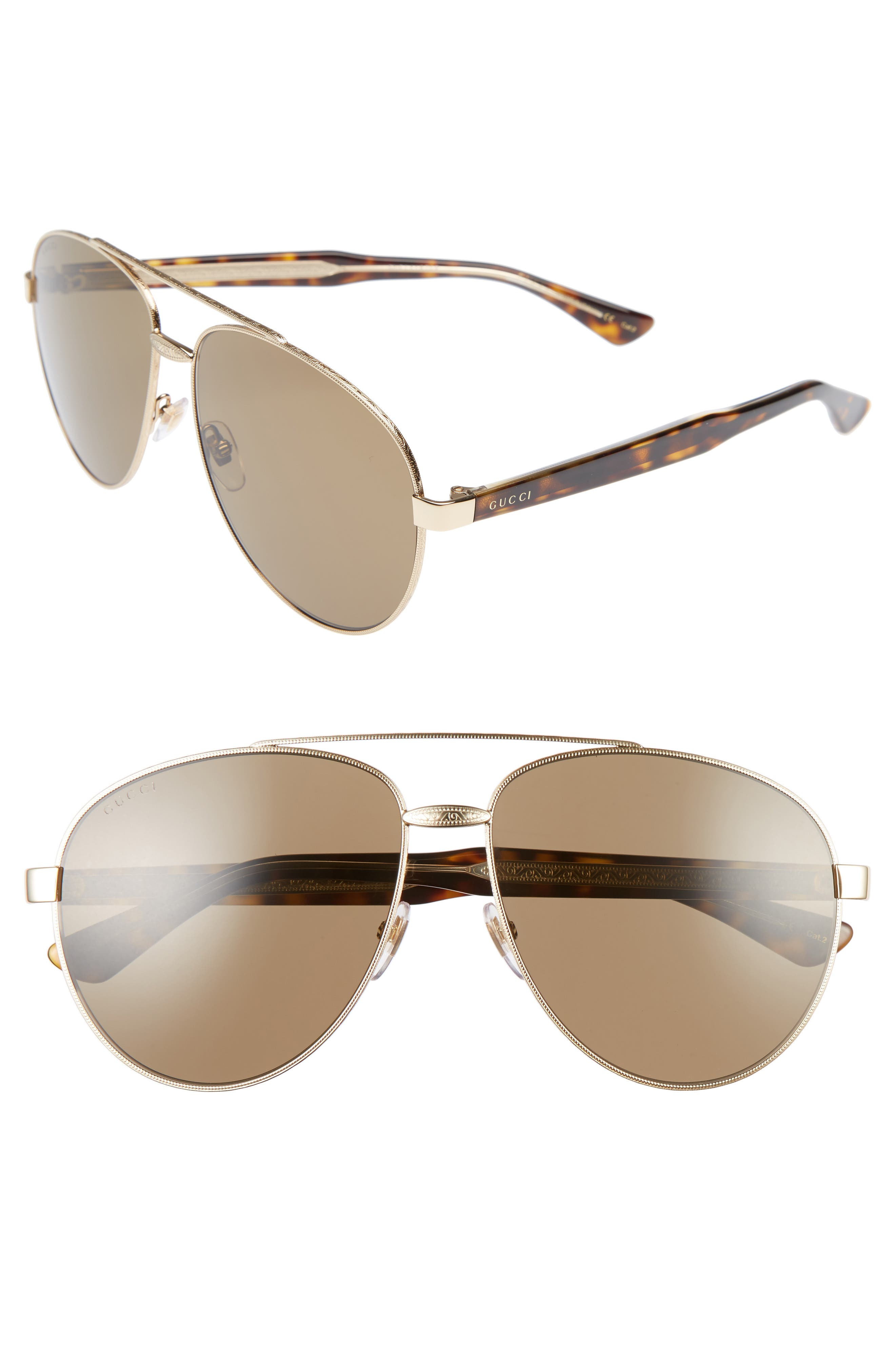 61mm Aviator Sunglasses,                             Main thumbnail 1, color,                             Gold/ Brown
