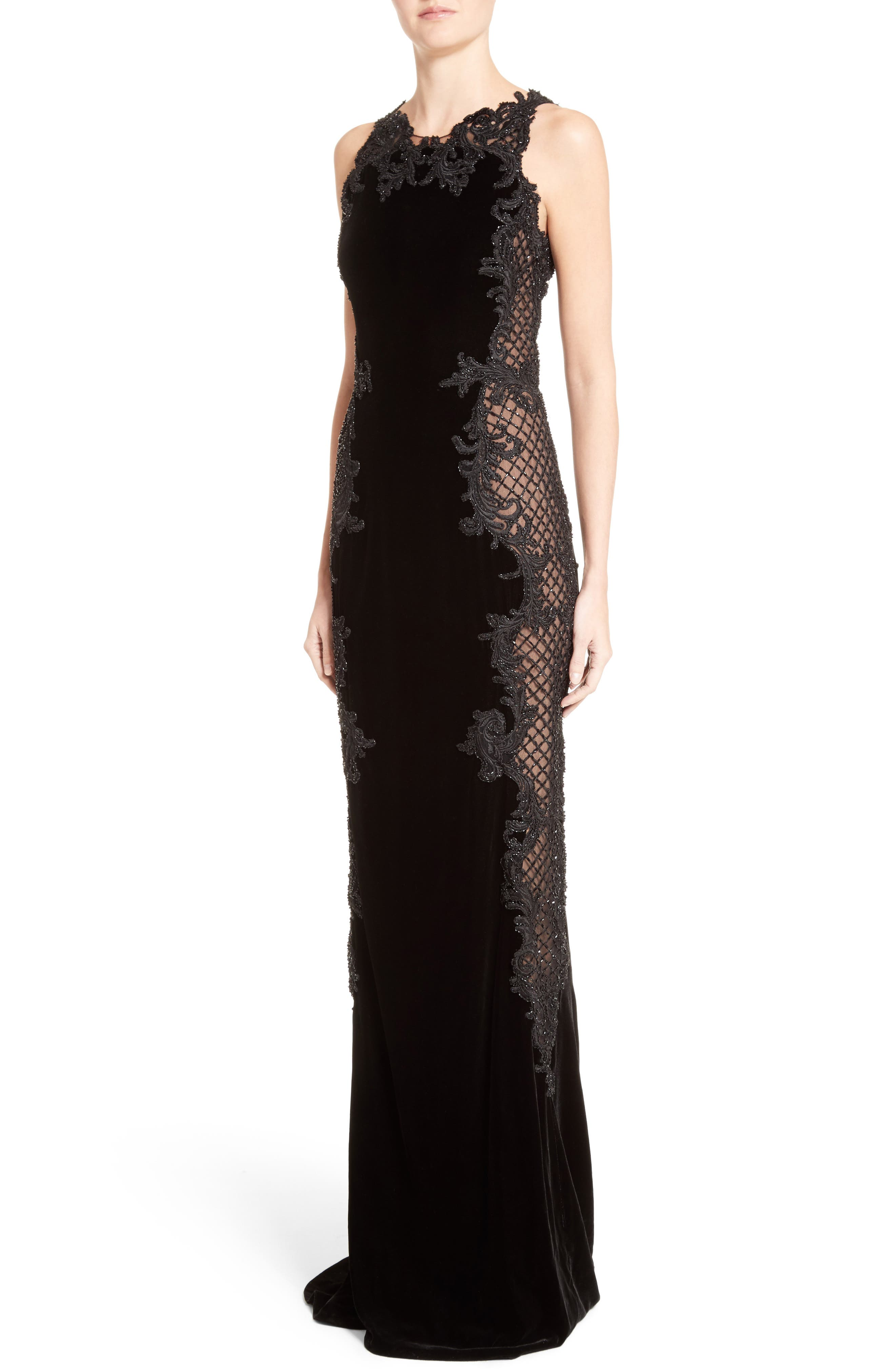 Embellished Tulle & Velvet Column Gown,                             Alternate thumbnail 6, color,                             Black