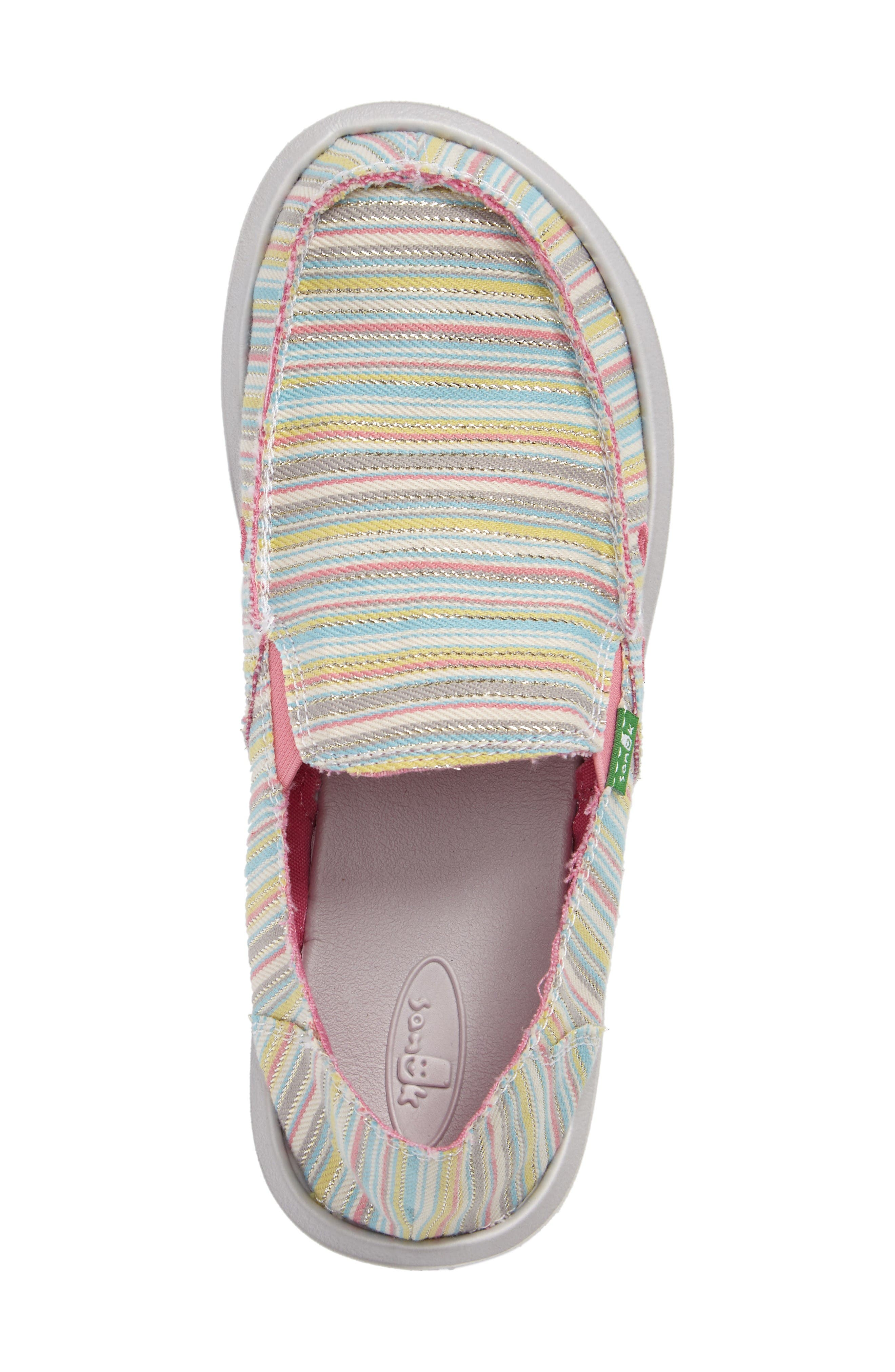 'Donna - Poncho' Vegan Slip-On,                             Alternate thumbnail 3, color,                             Aqua/ Pink Pinstripe