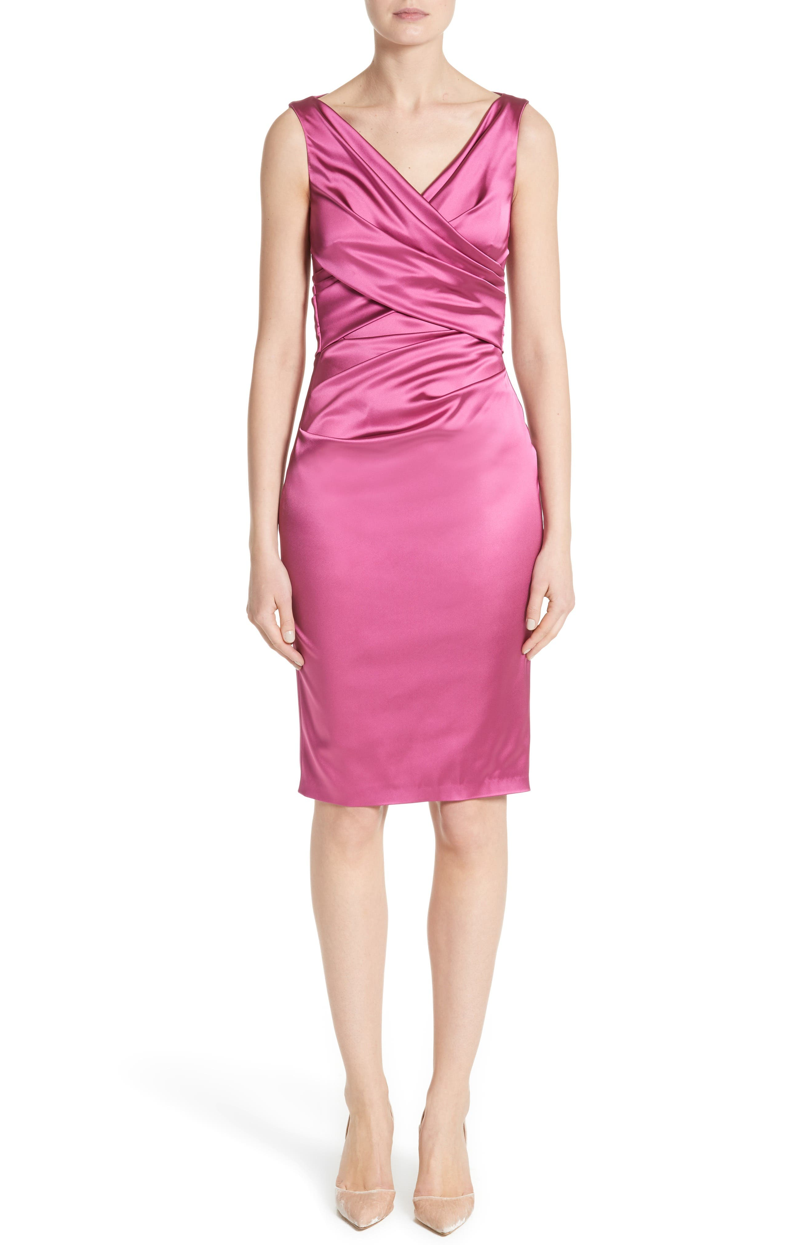 Talbot Runhof Pleat Wrap Stretch Satin Sheath Dress