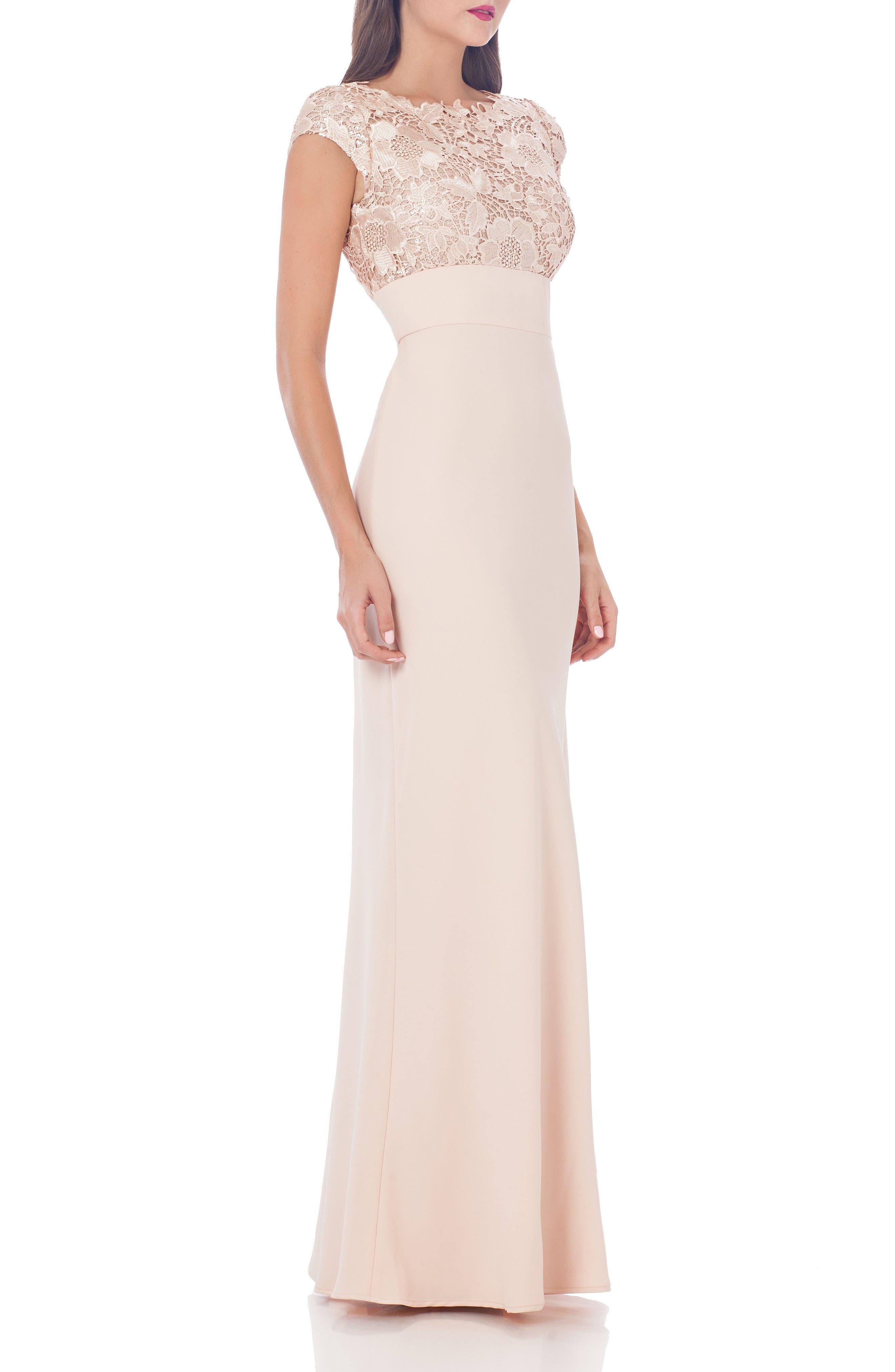 Lace Column Gown,                         Main,                         color, Porcelain