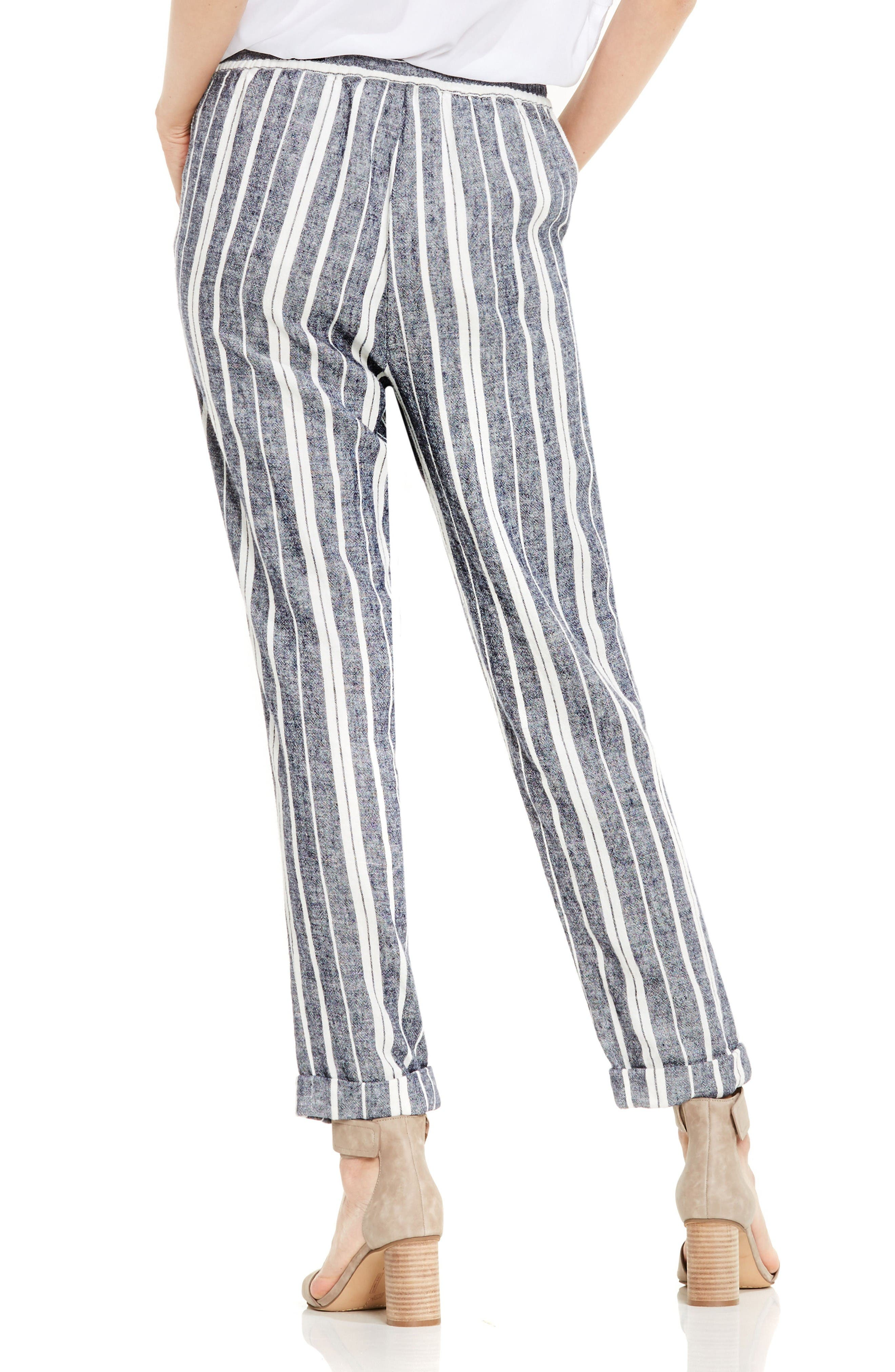Stripe Linen Blend Ankle Pants,                             Alternate thumbnail 2, color,                             New Ivory