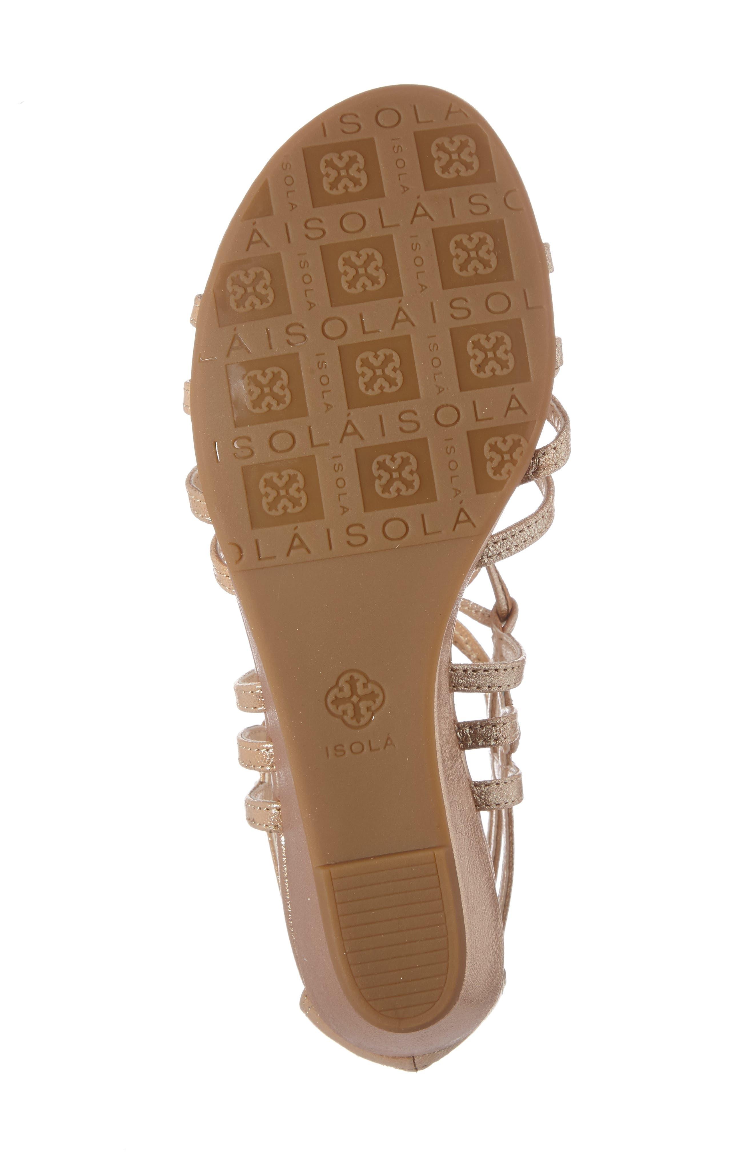 Elisia Lace-Up Sandal,                             Alternate thumbnail 4, color,                             Gold Leather