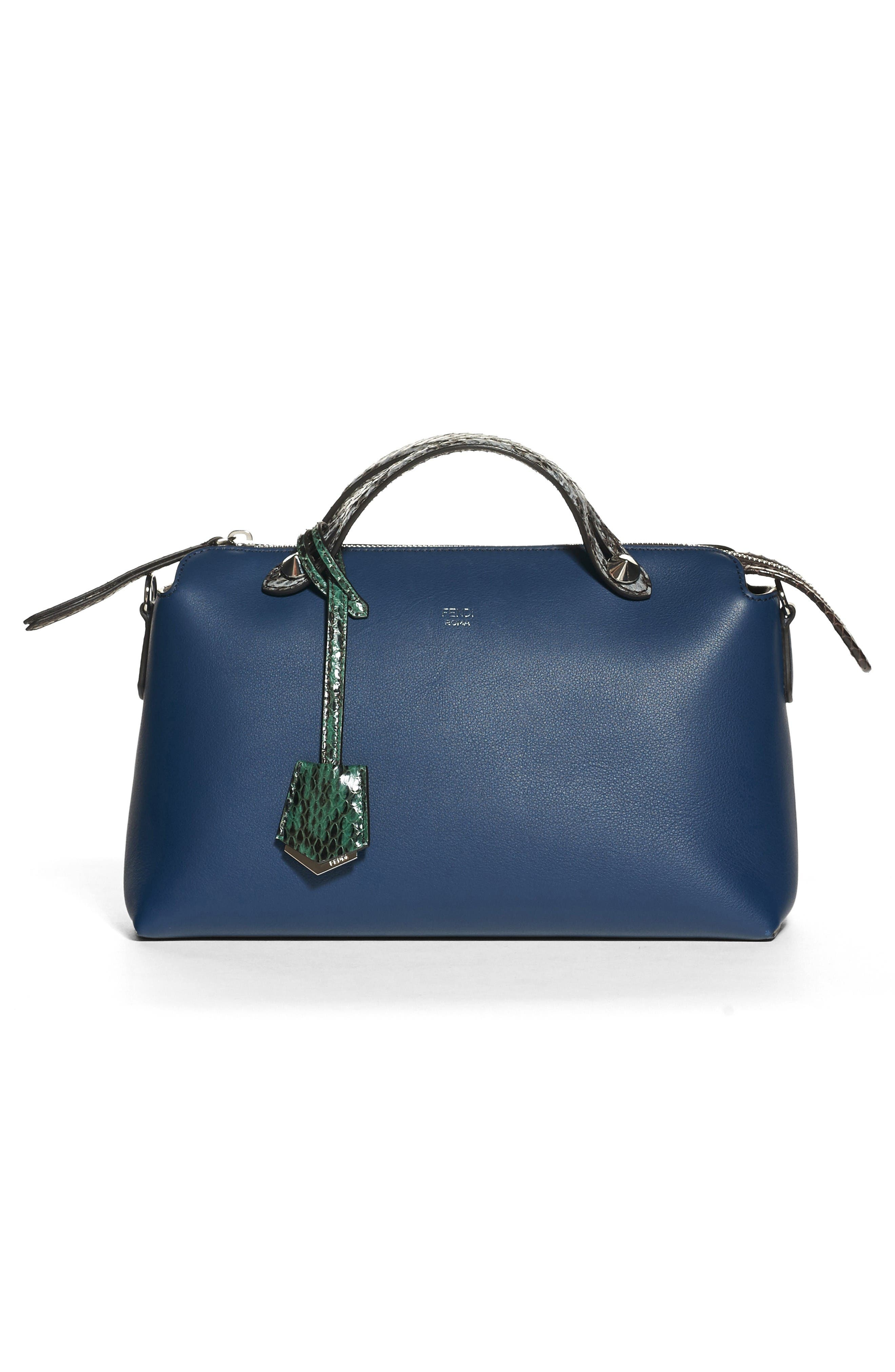 Main Image - Fendi 'Medium By the Way' Calfskin Leather Shoulder Bag with Genuine Snakeskin Trim