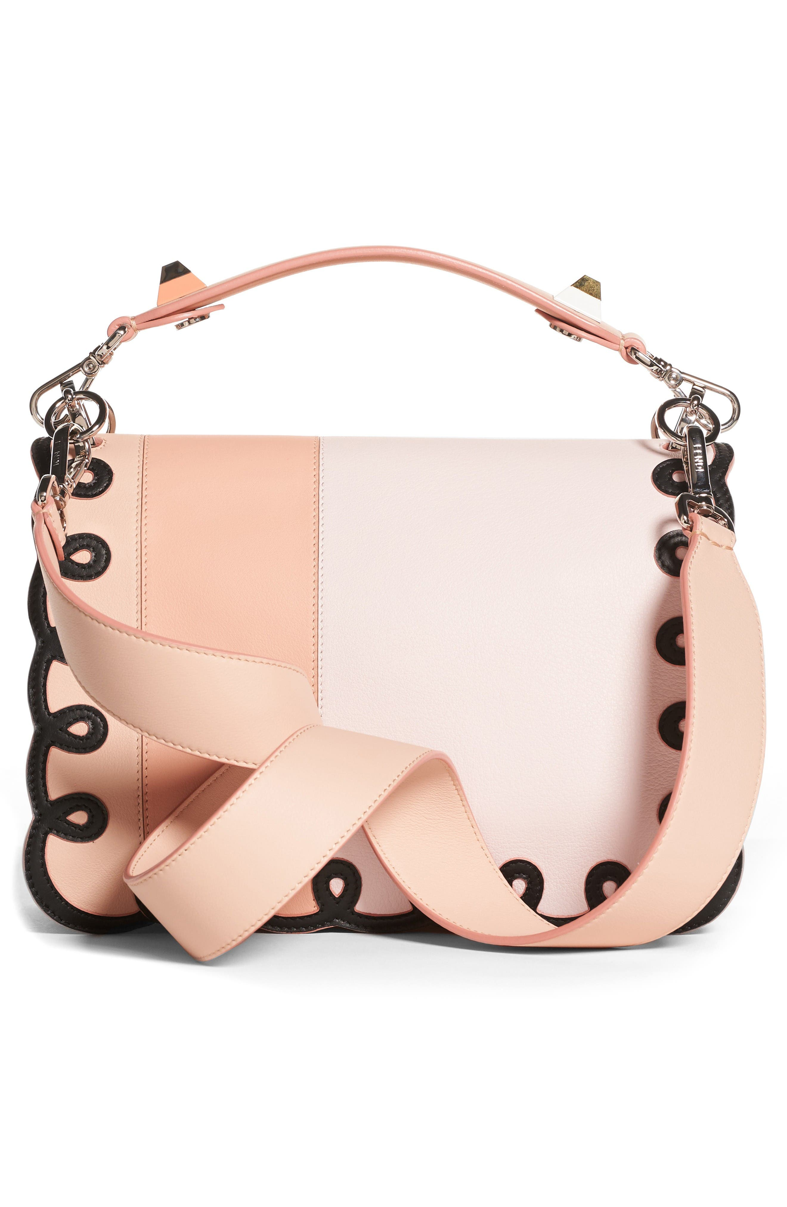 Kan I Scalloped Stripe Leather Shoulder Bag,                             Alternate thumbnail 2, color,                             Plaster Pink