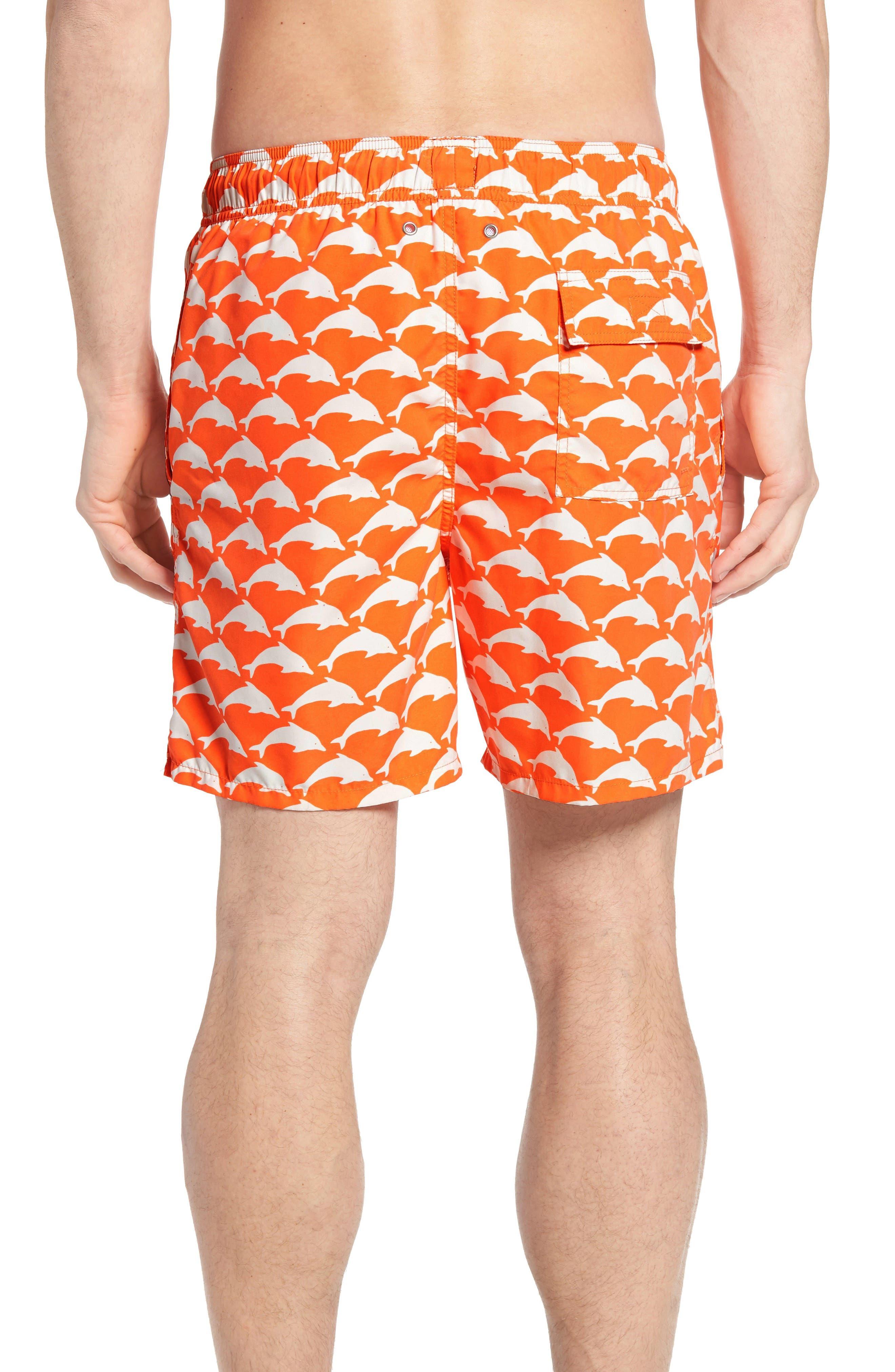 Dolphin Print Swim Trunks,                             Alternate thumbnail 2, color,                             Orange White