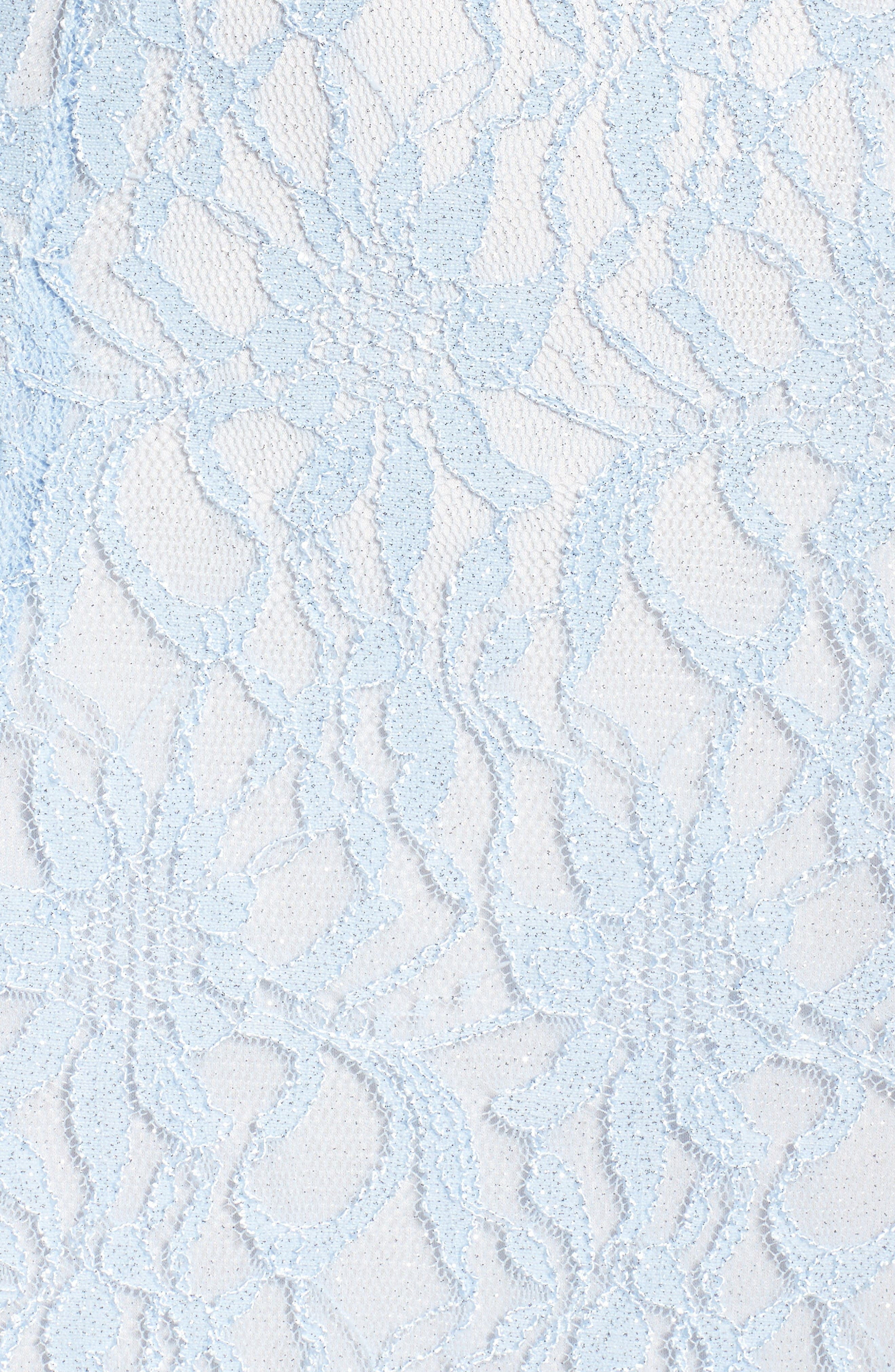 Glitter Lace Gown,                             Alternate thumbnail 5, color,                             Ice Blue/ Ivory