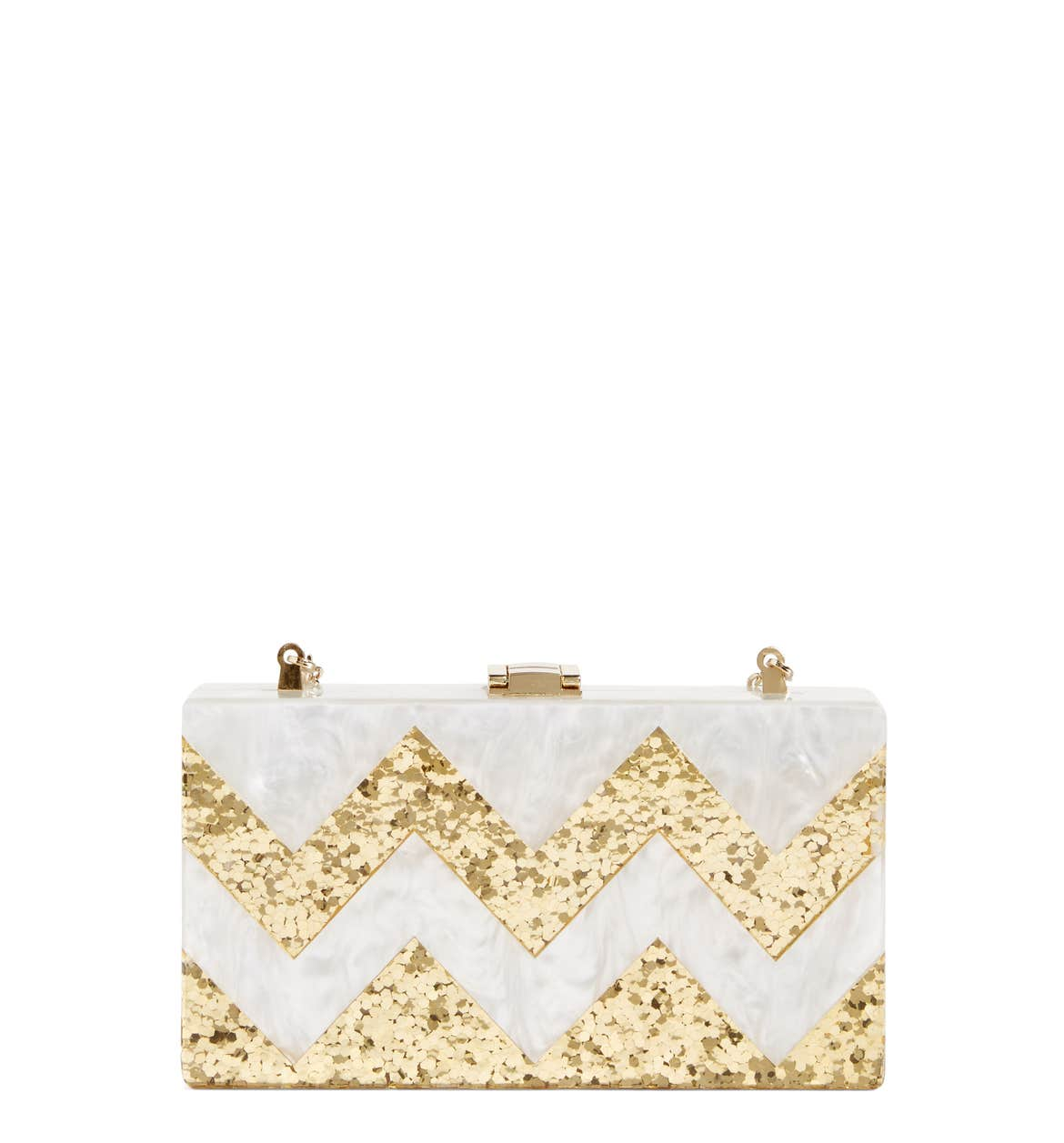 Glitter Chevron Box Clutch