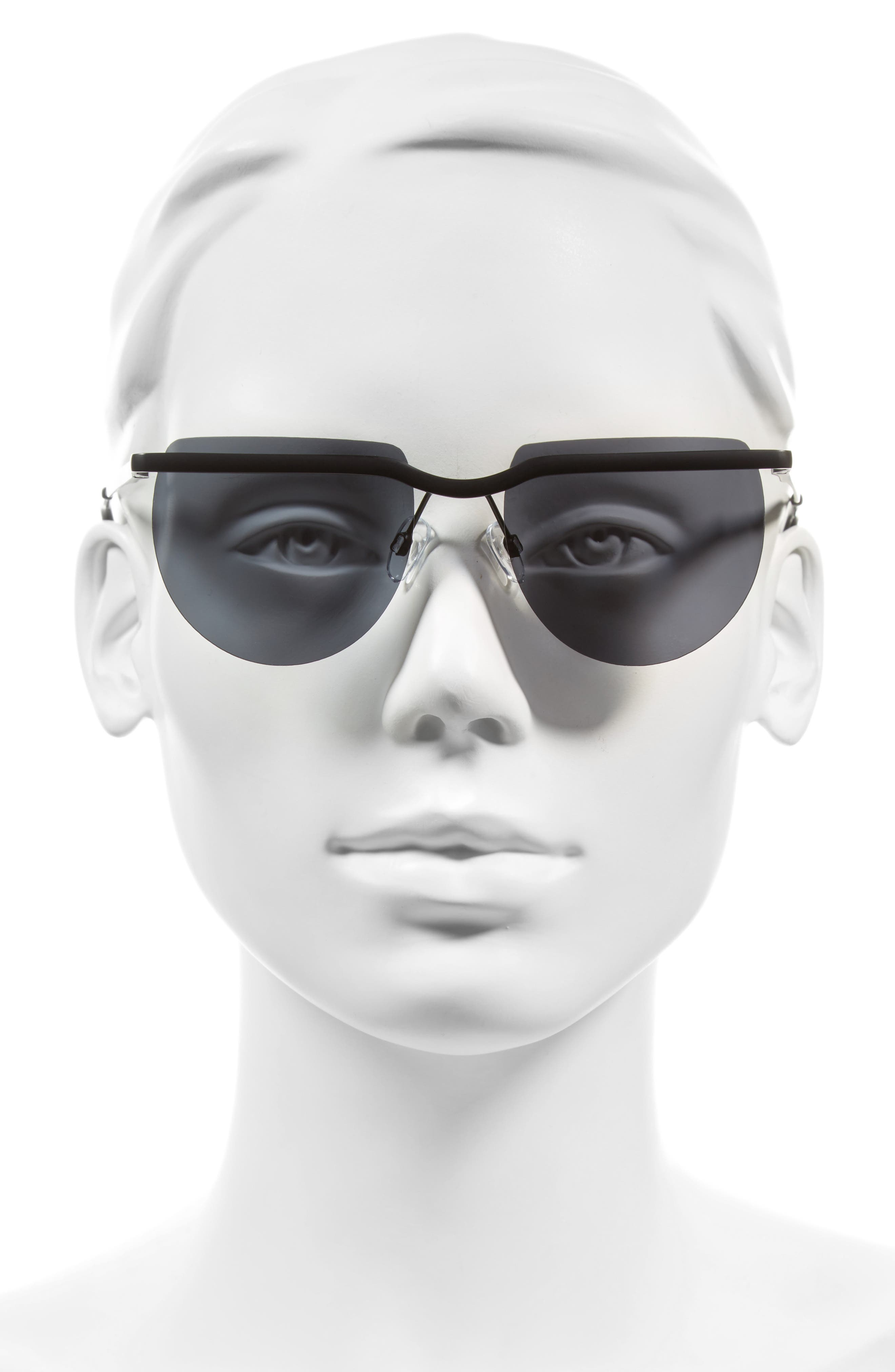 Mafia Moderne 52mm Rimless Sunglasses,                             Alternate thumbnail 2, color,                             Matte Black