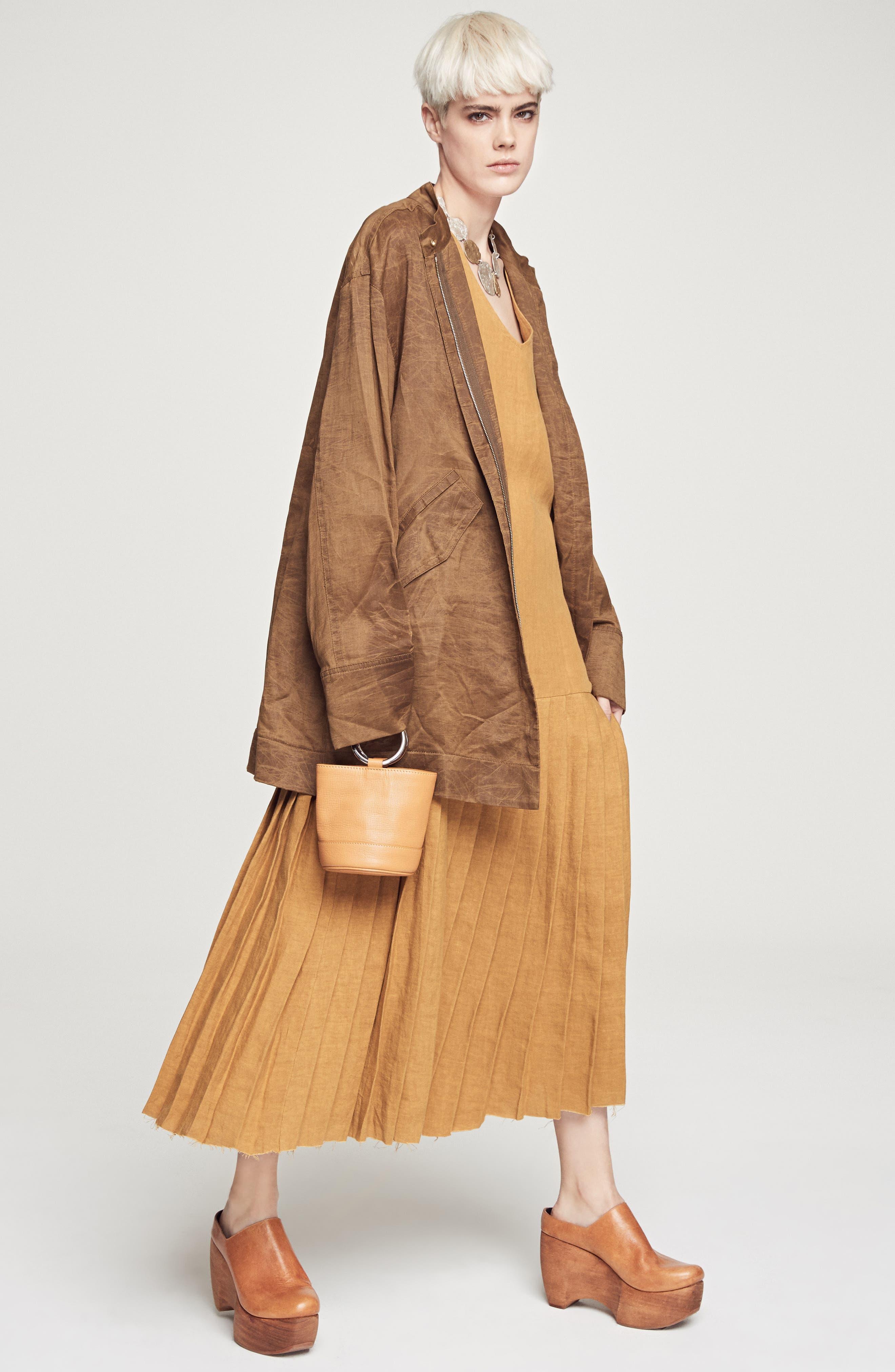 Bonsai Pebbled Leather Bucket Bag,                             Alternate thumbnail 8, color,                             Tan