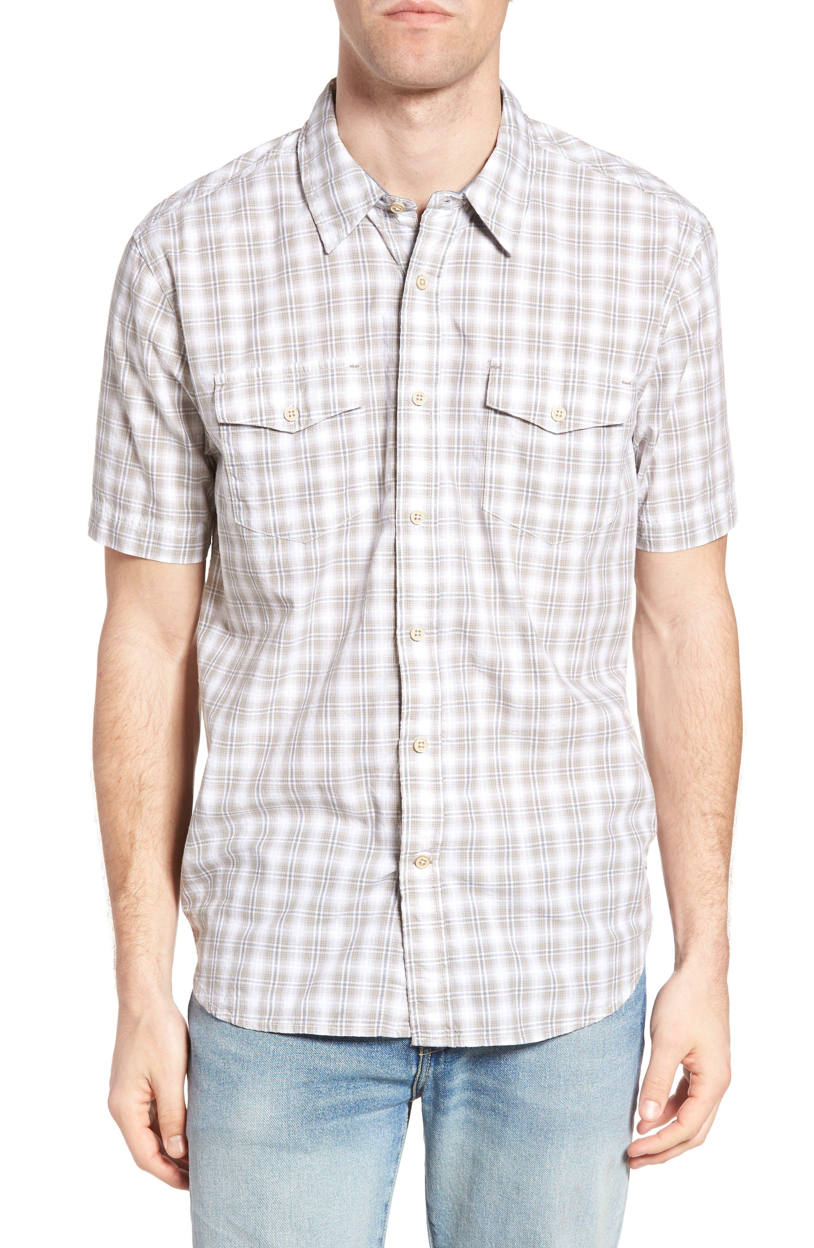 Soho Plaid Cotton Sport Shirt,                         Main,                         color, Grey