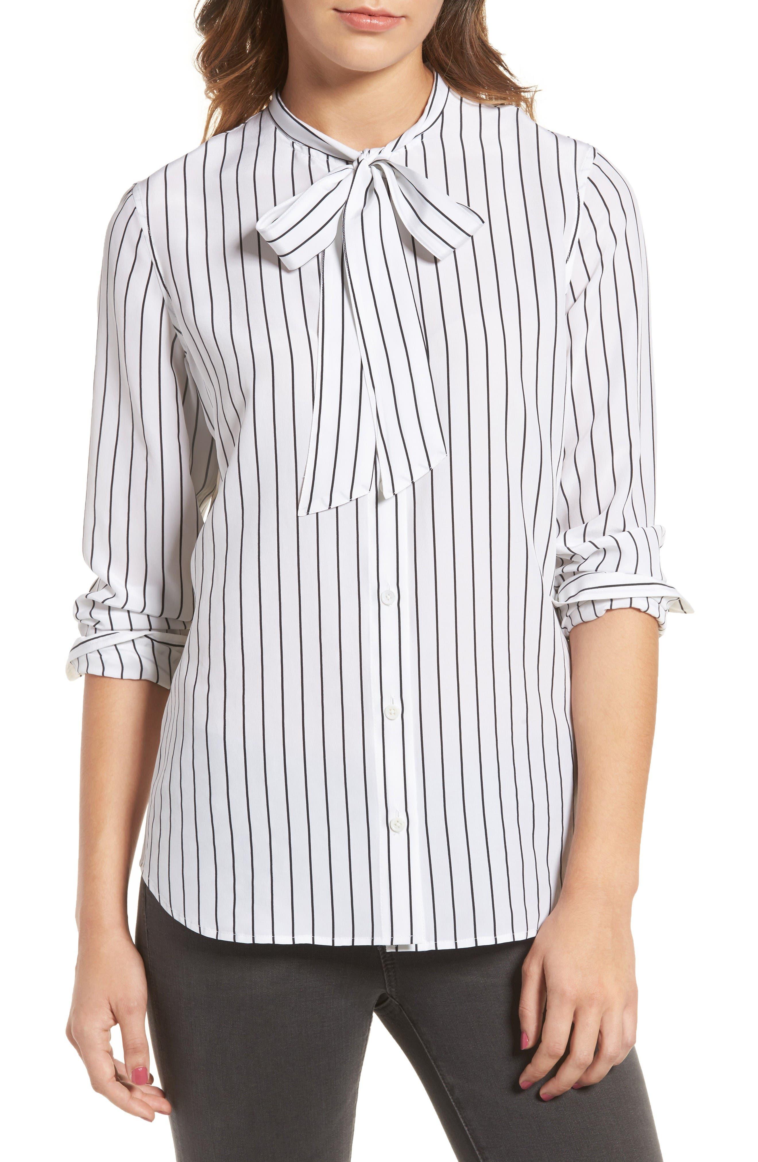 Claire Stripe Silk Shirt,                         Main,                         color, True White / True Black Stripe