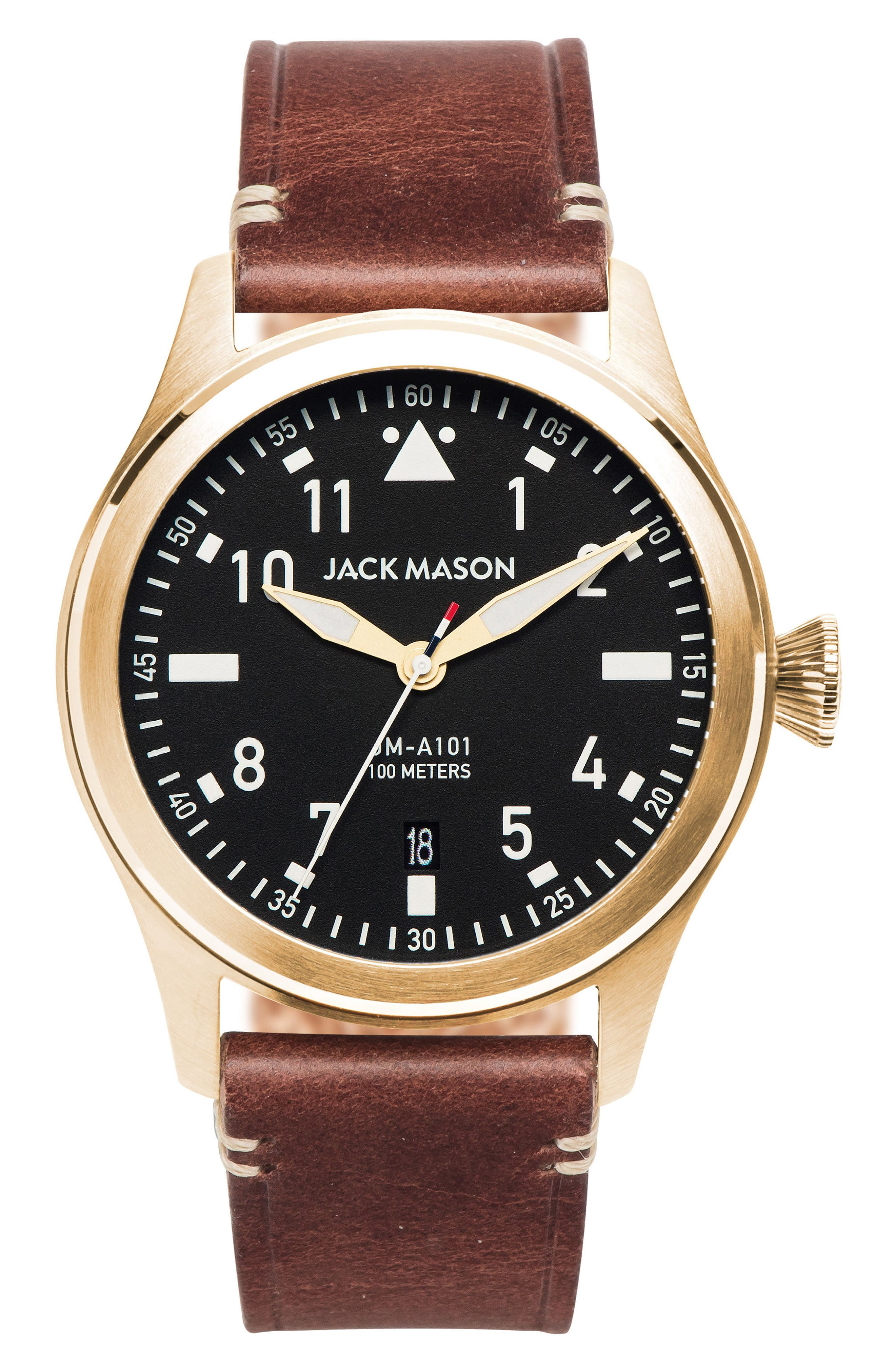 Aviation Leather Strap Watch, 42mm,                         Main,                         color, Black/ Brown