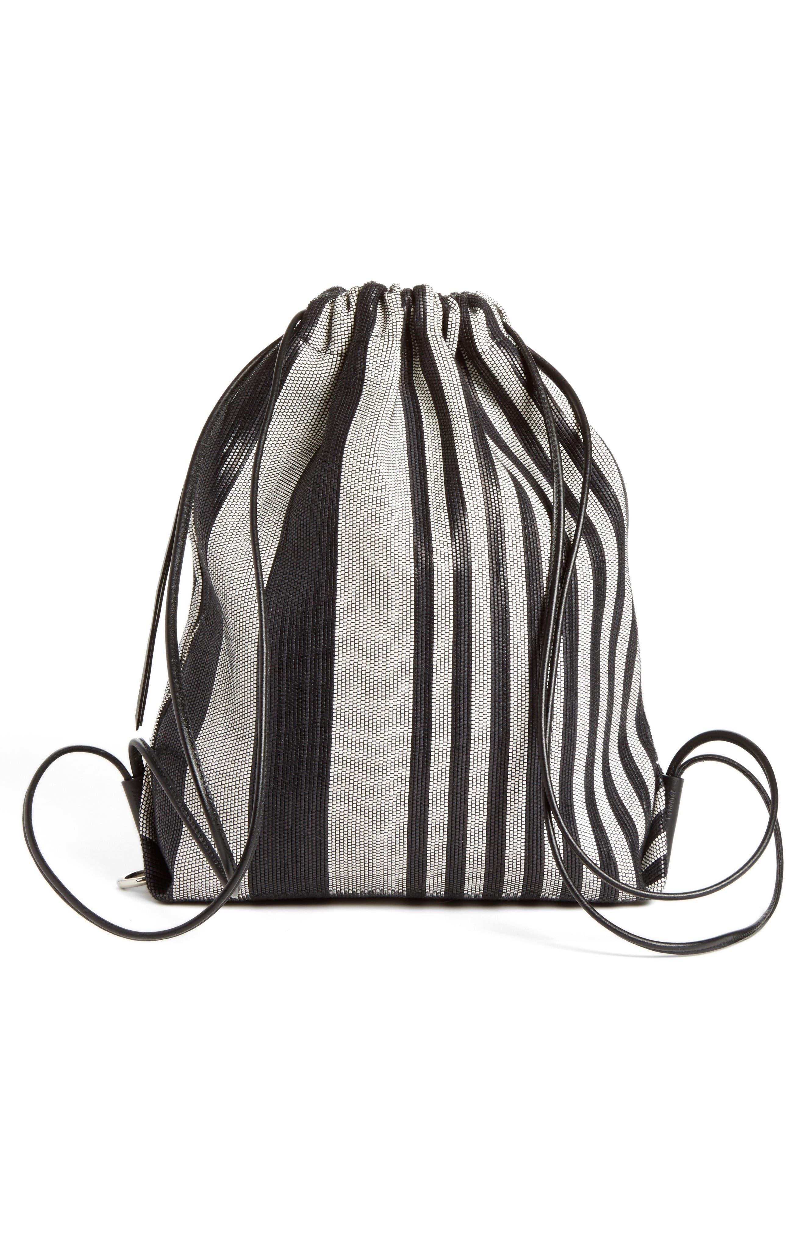 Drawstring Backpack,                             Alternate thumbnail 2, color,                             Black/White