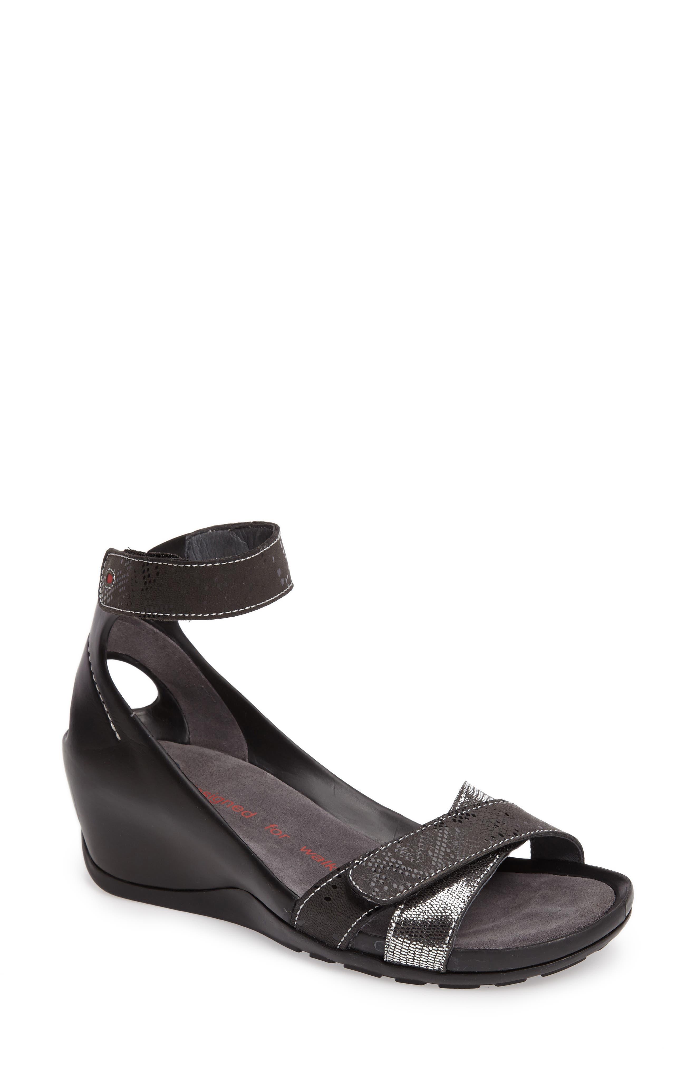 Do Wedge Sandal,                             Main thumbnail 1, color,                             Black Patina Leather