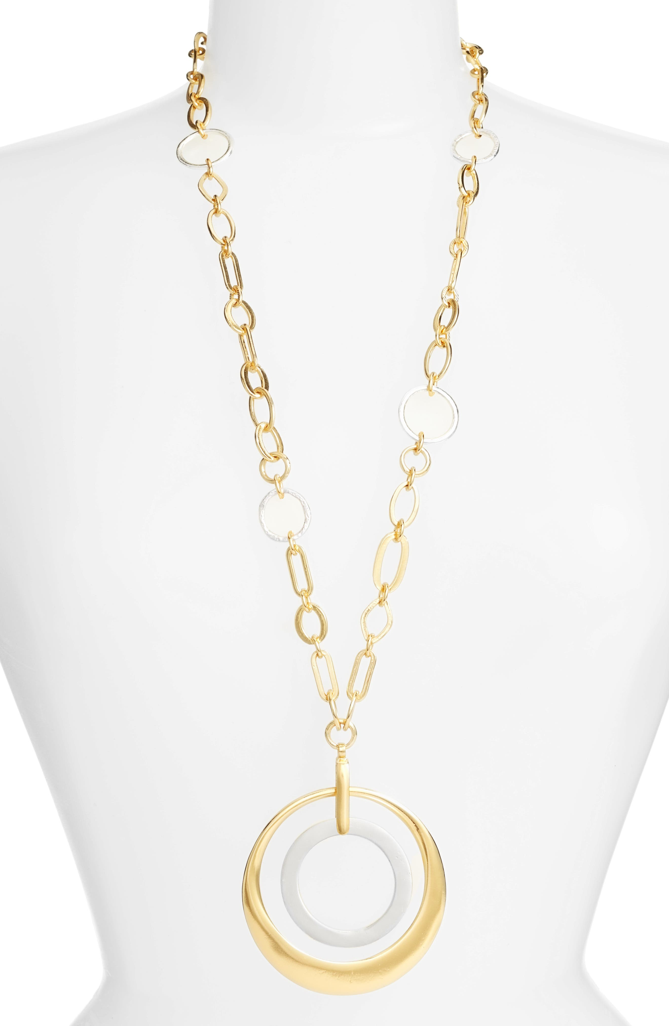 Karine Sultan Double Circle Pendant Necklace