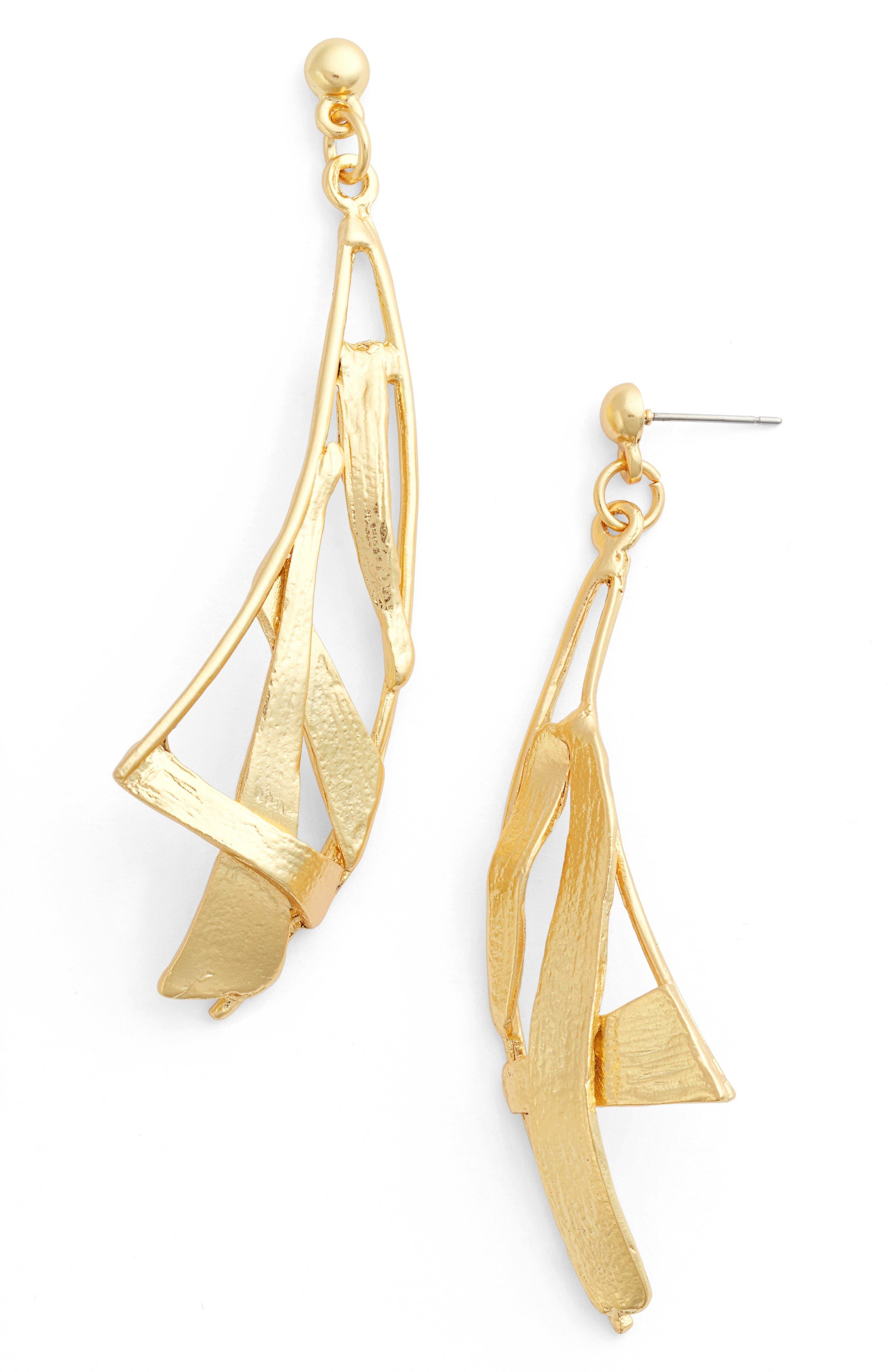 Sail Drop Earrings,                         Main,                         color, Gold