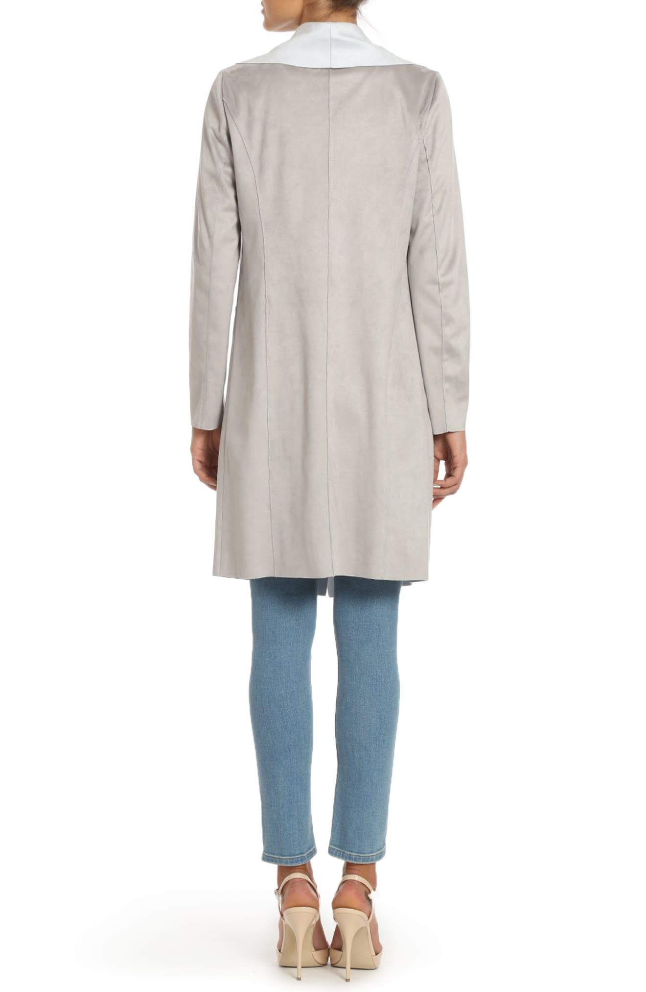 Alternate Image 2  - Badgley Mischka Colorblock Faux Suede Draped Coat