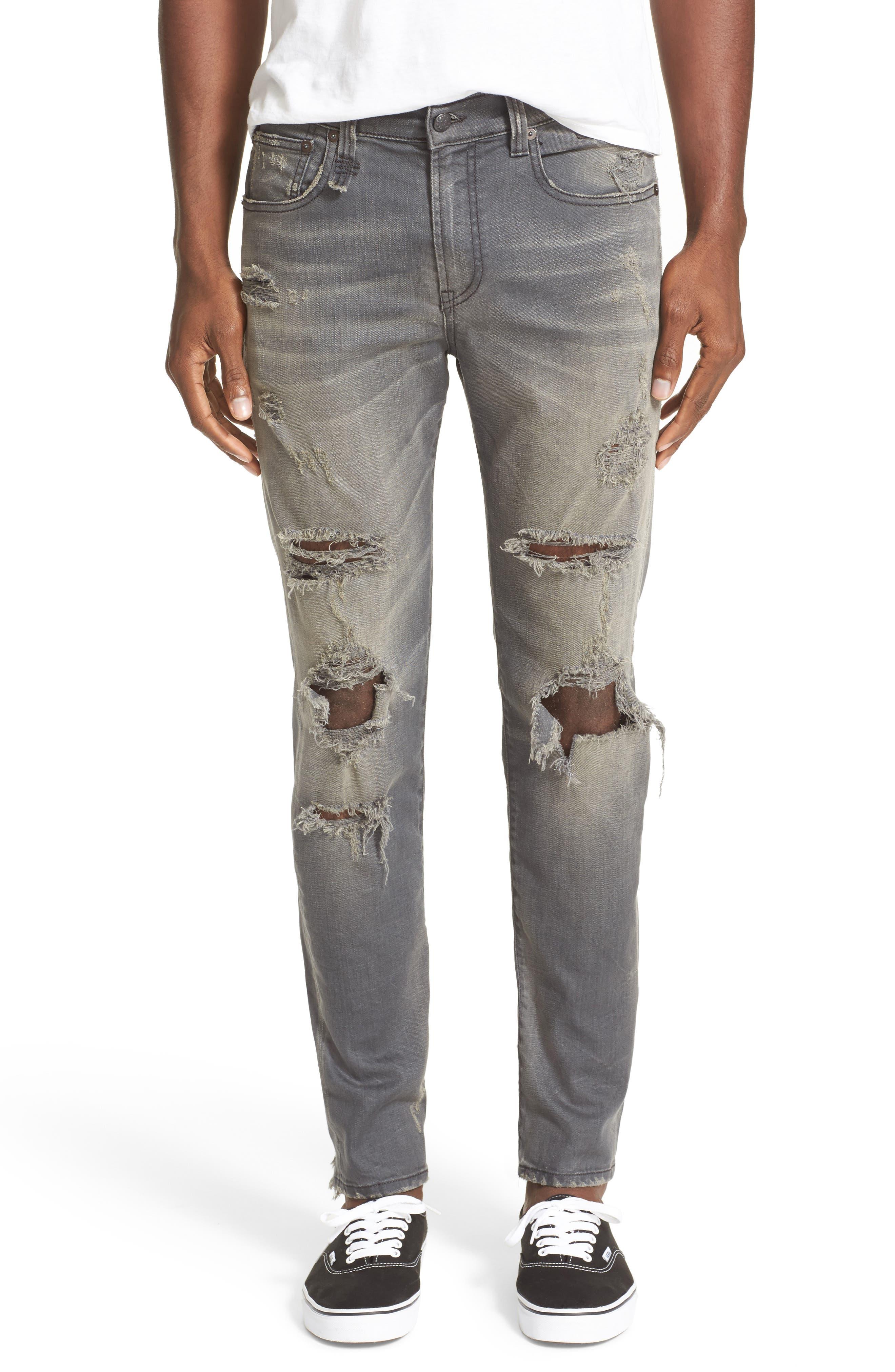 Skate Shredded Skinny Jeans,                             Main thumbnail 1, color,                             Grey
