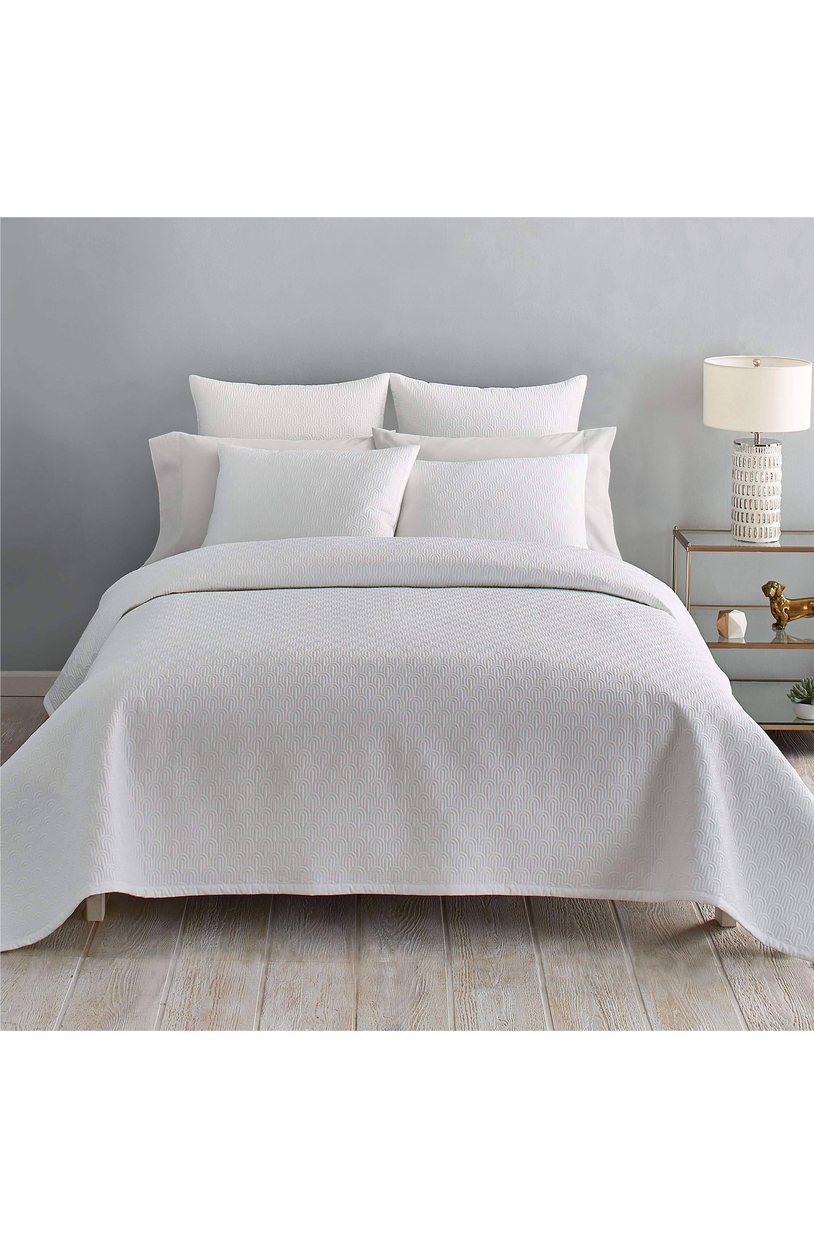 Quilted Coverlet,                         Main,                         color, White
