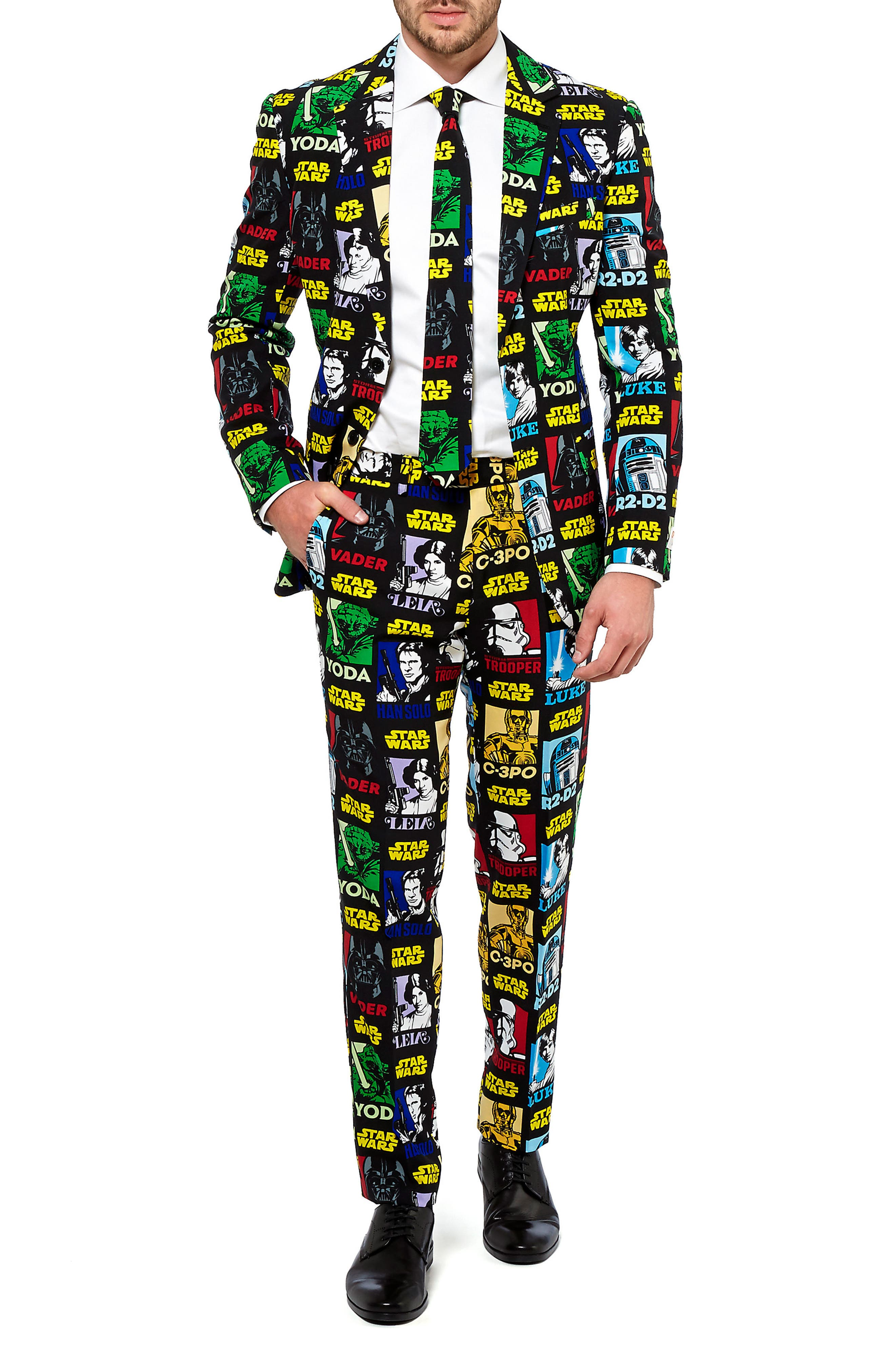 Strong Force Trim Fit Two-Piece Suit with Tie,                             Alternate thumbnail 4, color,                             Black/ Multi