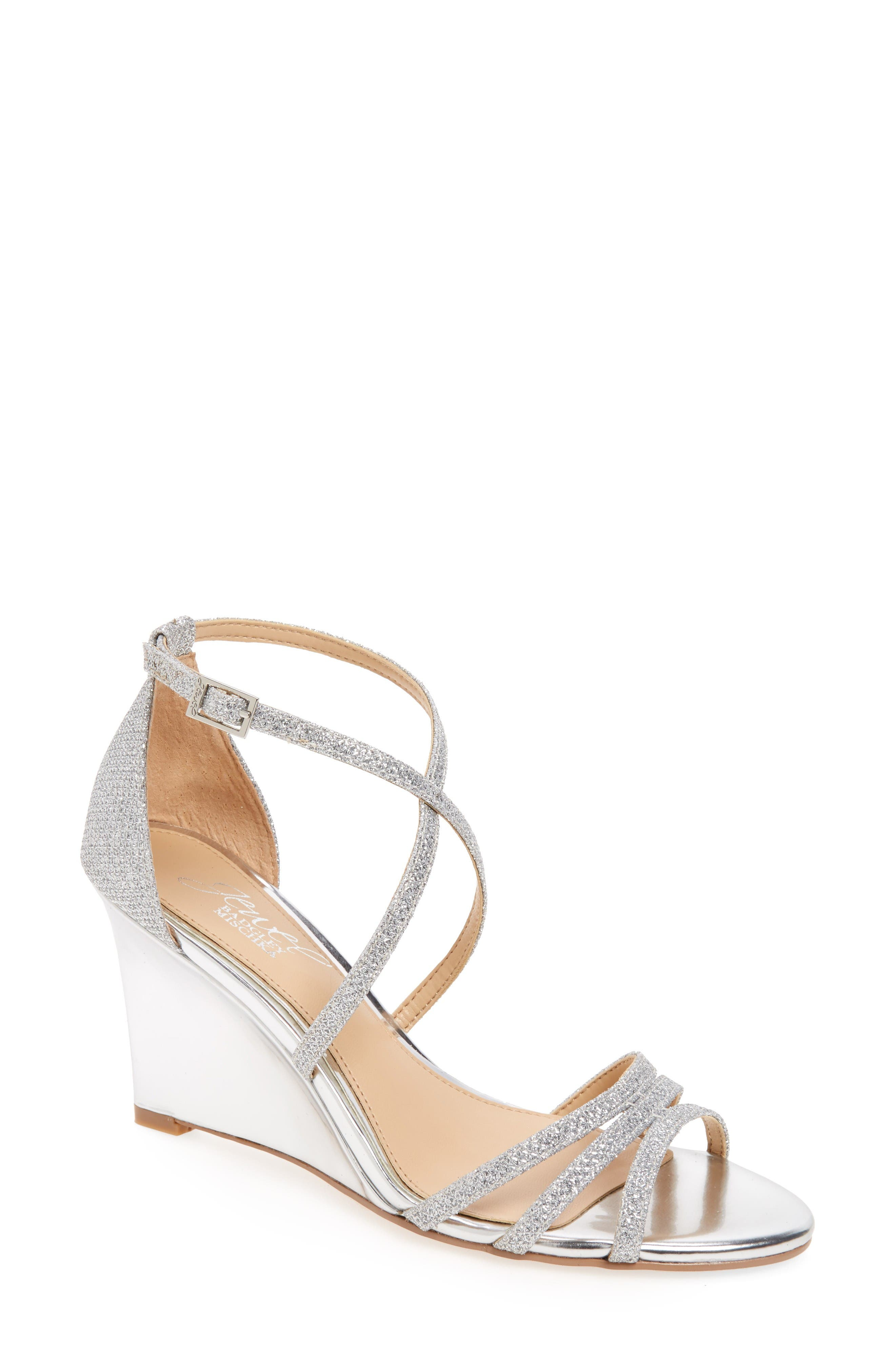Jewel Badgley Mischka Hunt Glittery Wedge Sandal (Women)