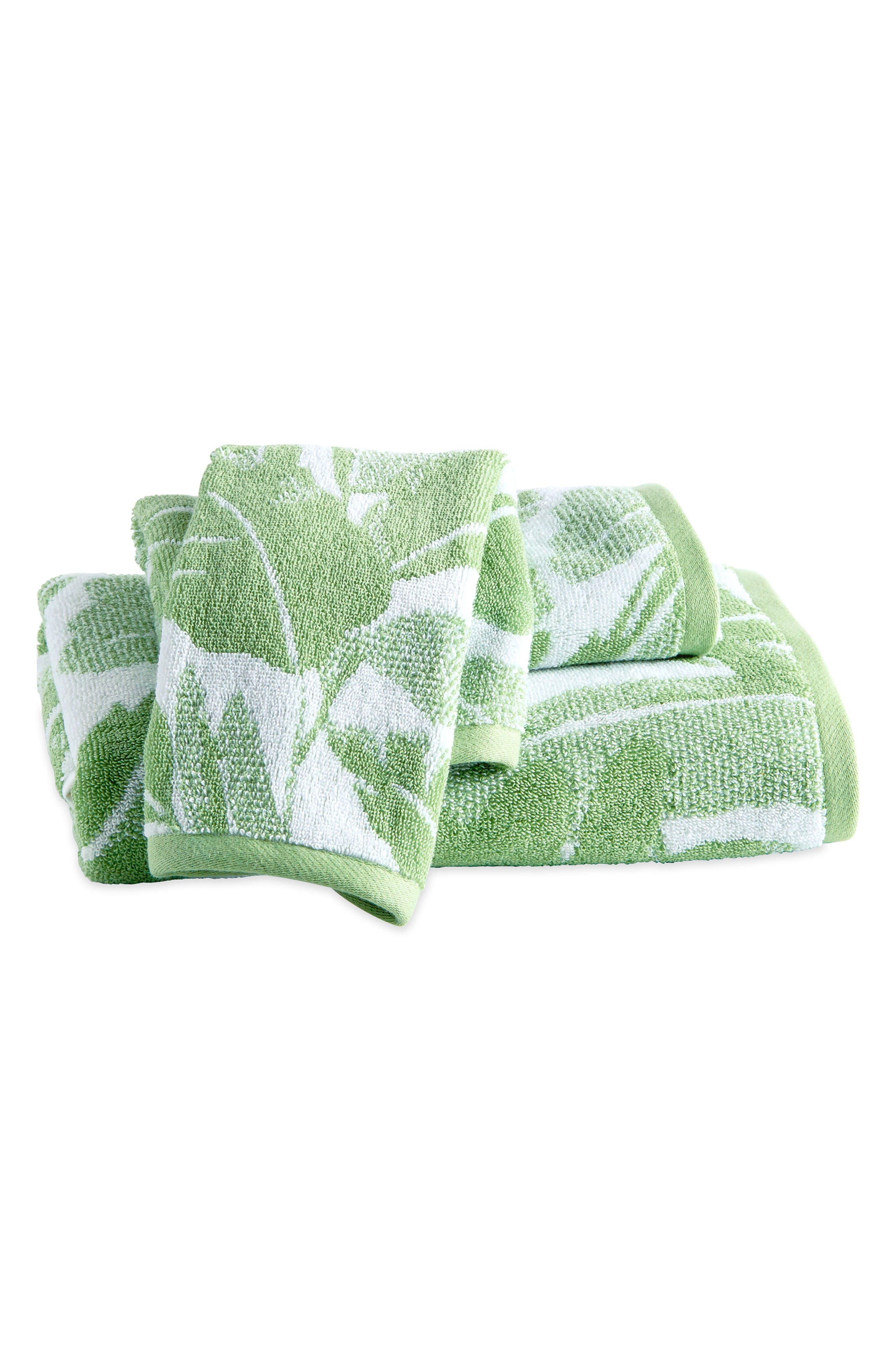 Miami Leaf Bath Towel, Hand Towel and Finger Towel Set,                         Main,                         color, Green