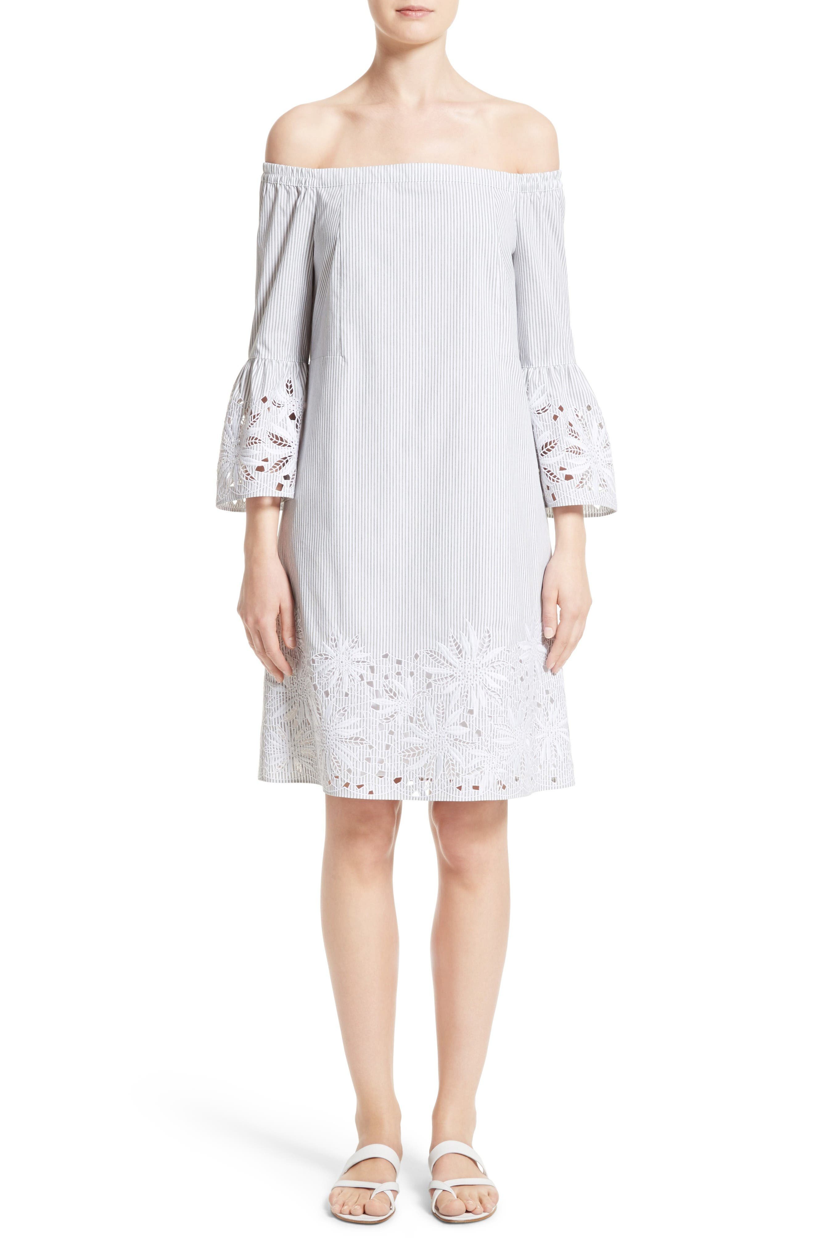Lafayette 148 New York Palmira Stripe Off the Shoulder Dress