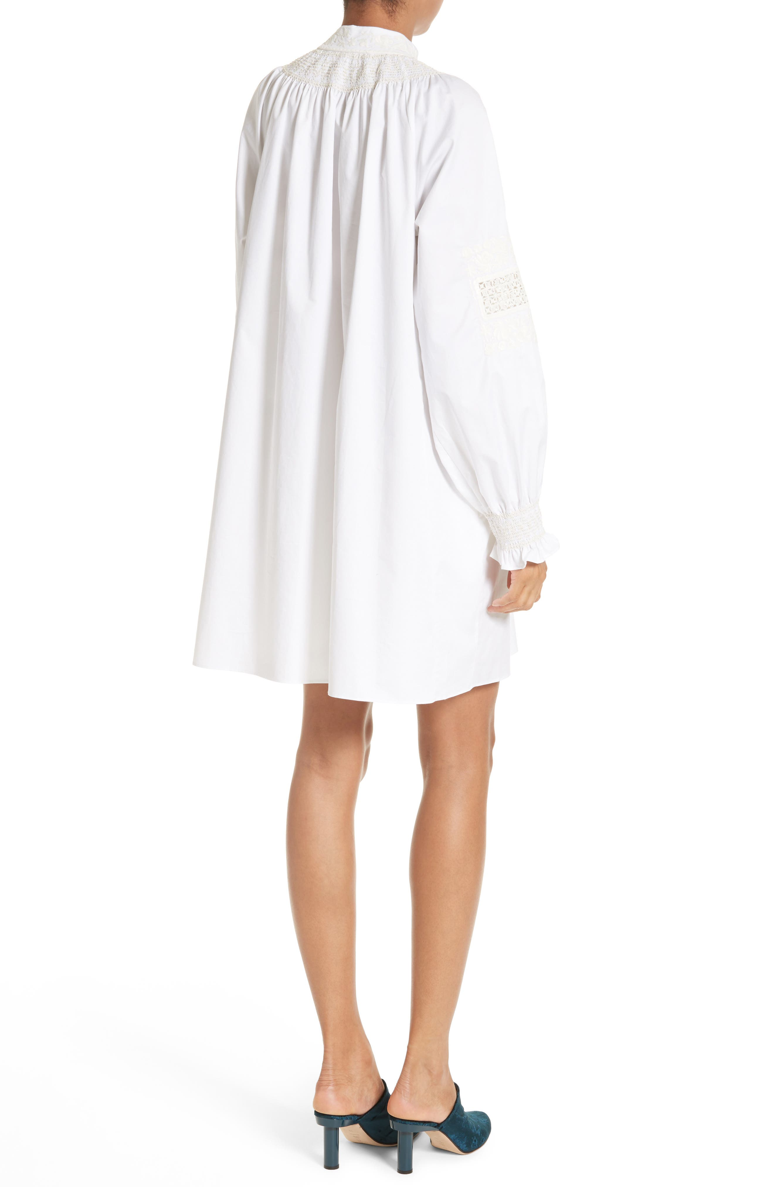 Smocked Tunic Dress,                             Alternate thumbnail 2, color,                             White/ Ivory Multi