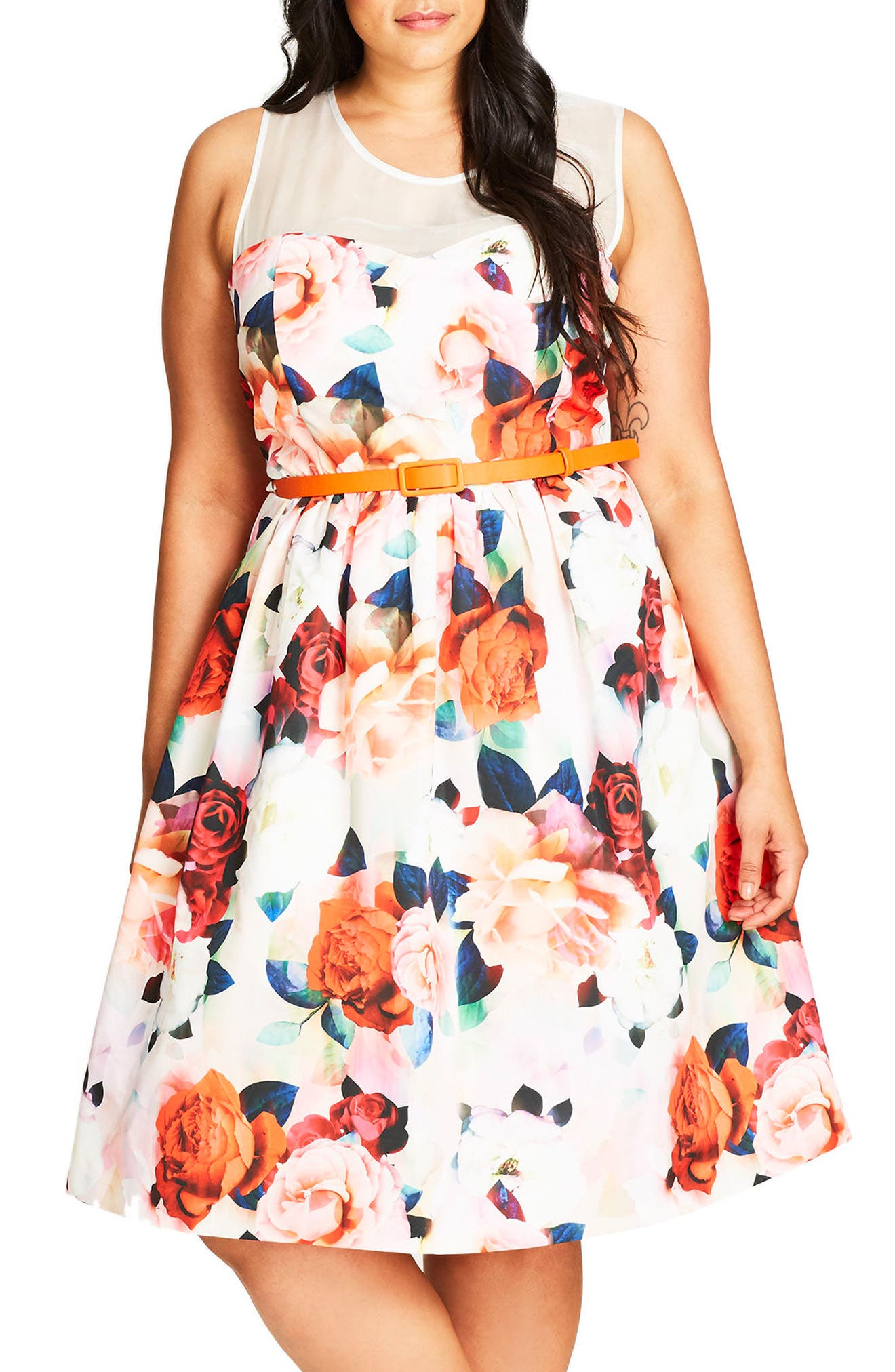 City Chic Floral Fever Belted Illusion Yoke Dress (Plus Size)