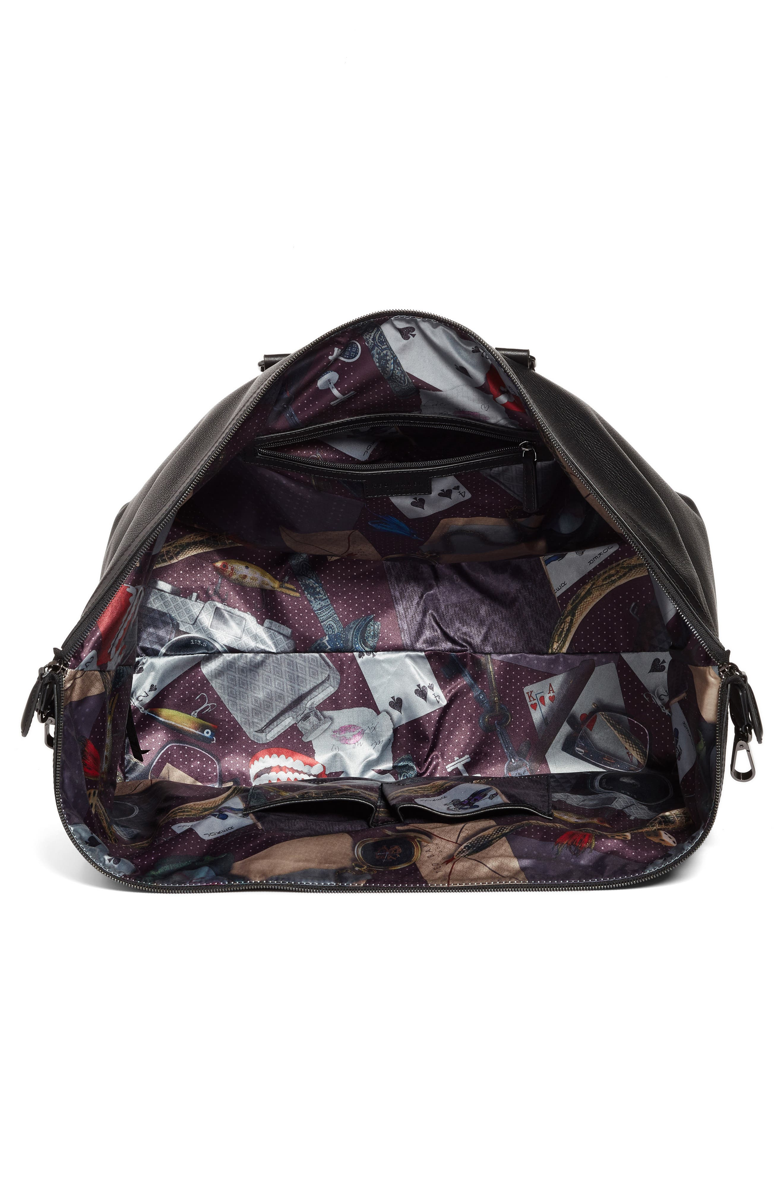 Leather Duffel Bag,                             Alternate thumbnail 4, color,                             Black