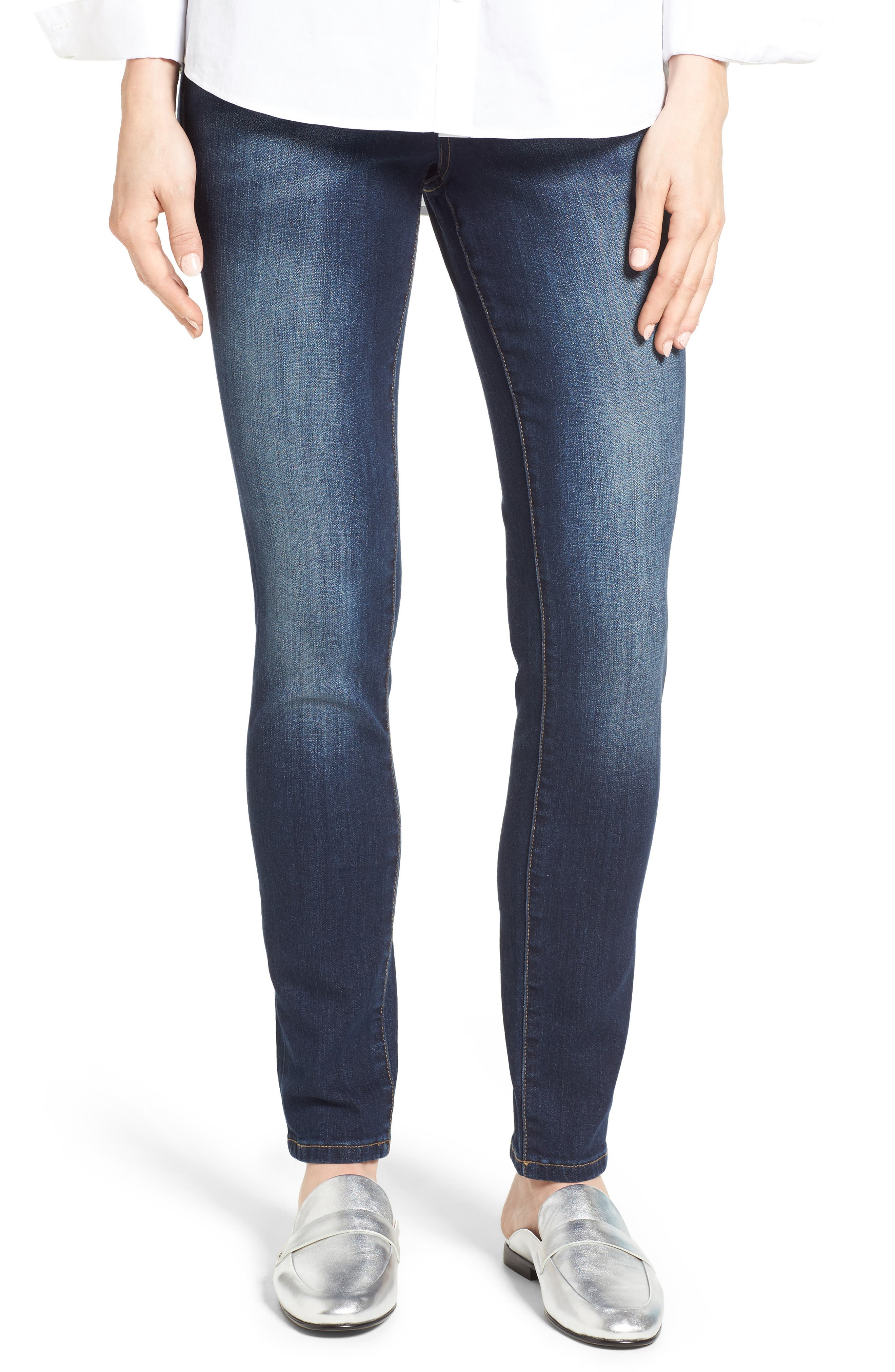 Alternate Image 1 Selected - Jag Nora Stretch Cotton Skinny Jeans (Medium Indigo)