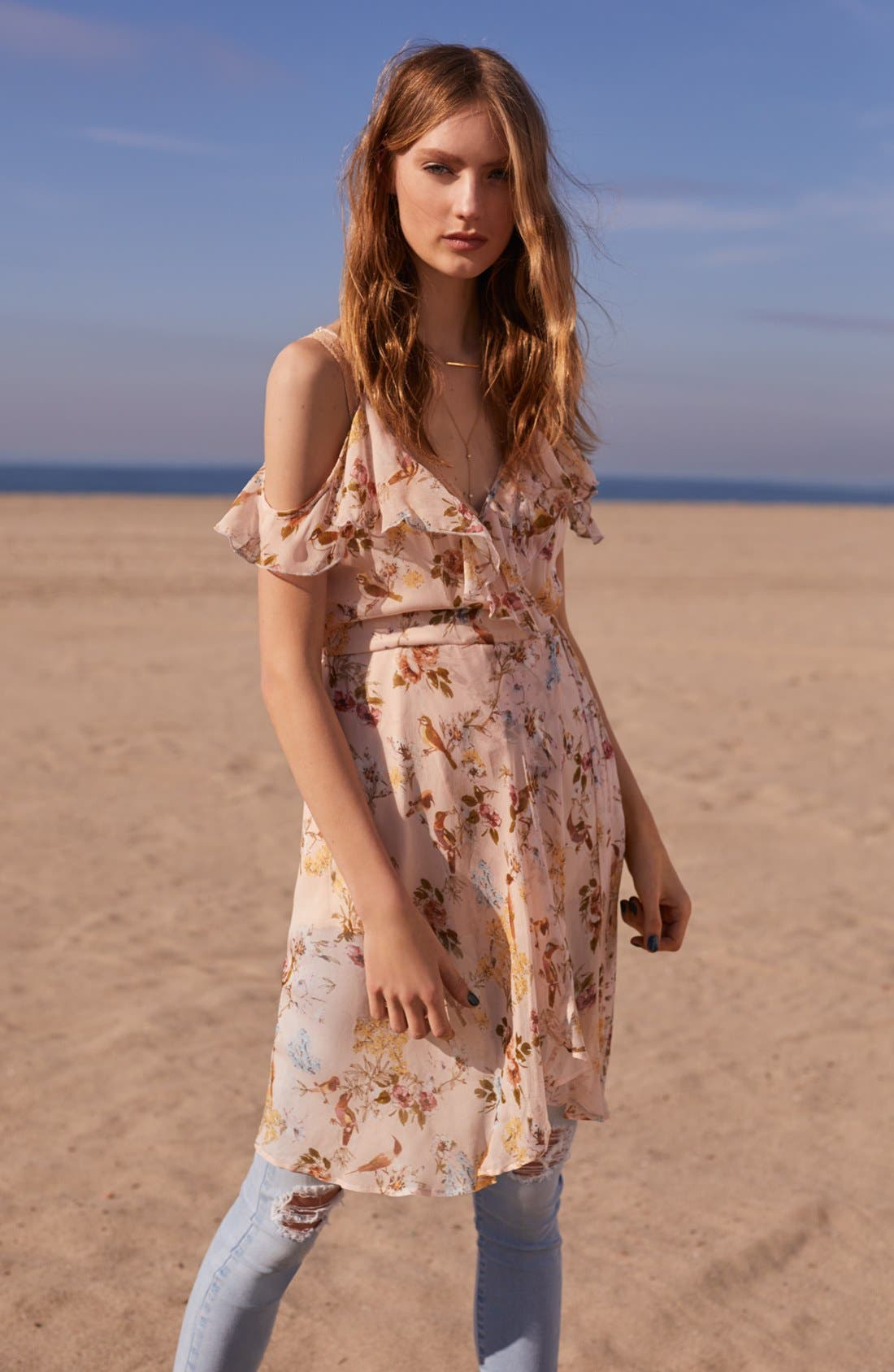 Alternate Image 2  - Band of Gypsies Ruffle Cold Shoulder Wrap Dress