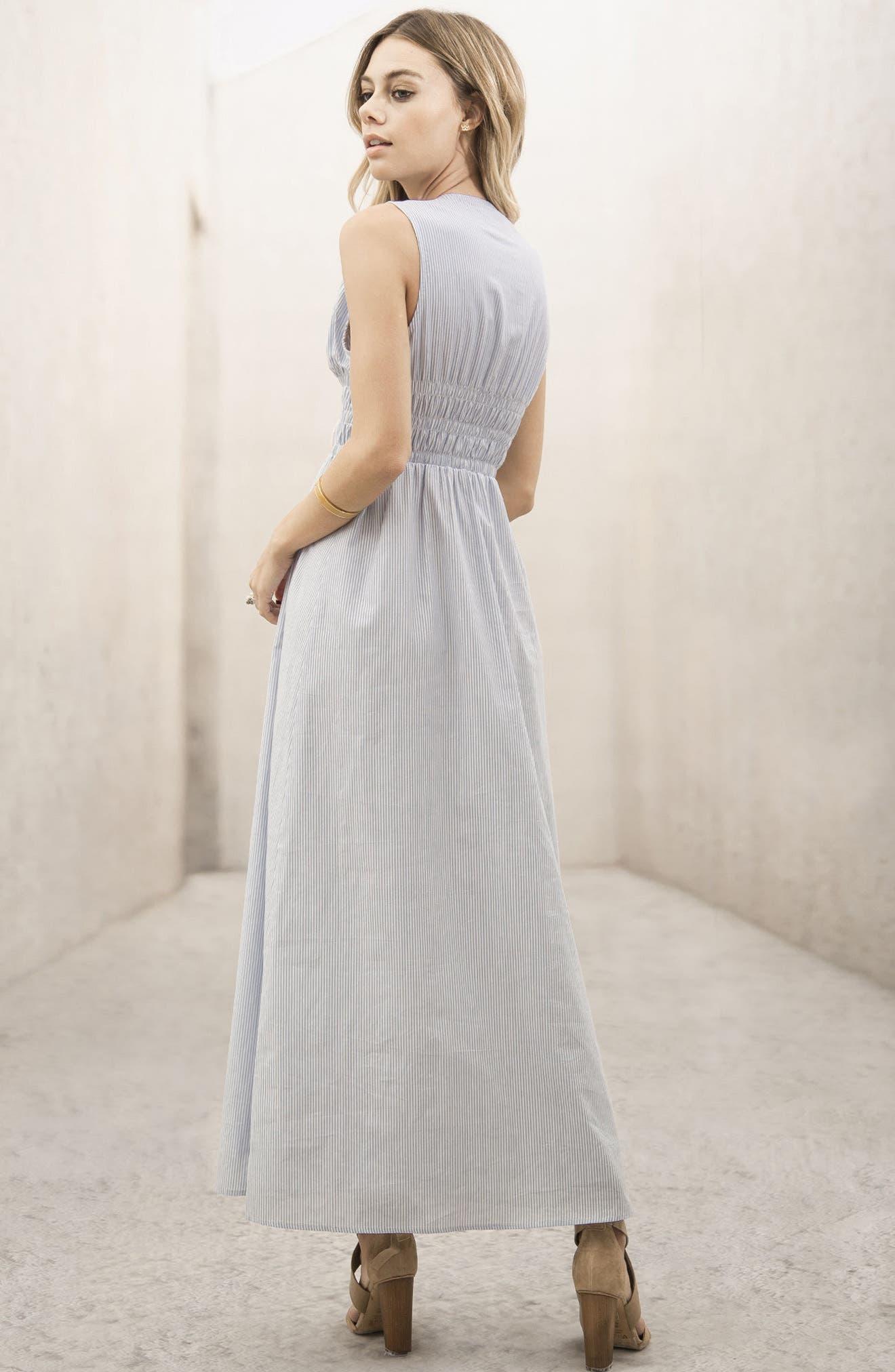 Stripe Lace-Up Maxi Dress,                             Alternate thumbnail 6, color,                             Light Blue