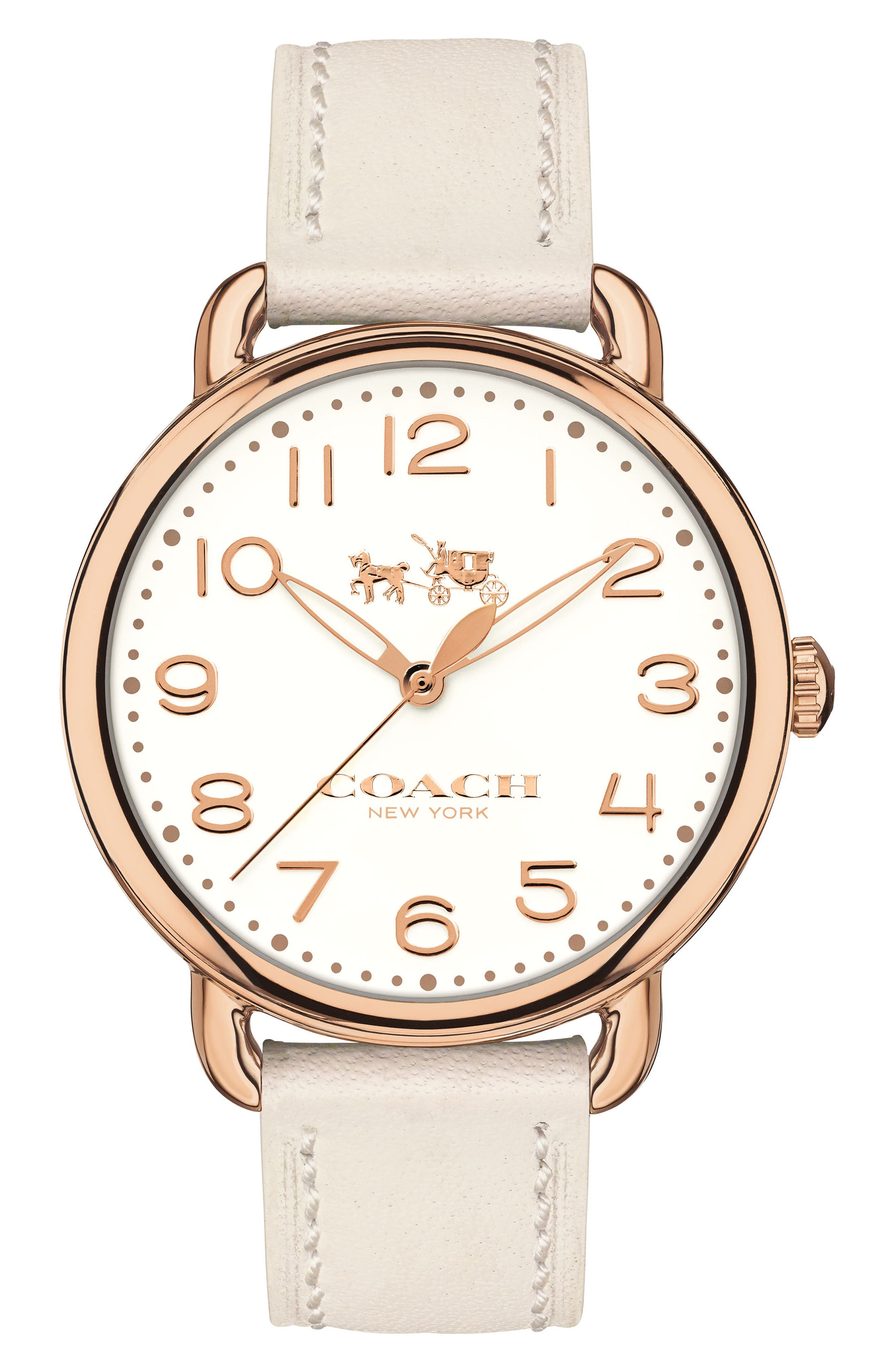 Delancey Leather Strap Watch, 36mm,                         Main,                         color, White/ Rose Gold