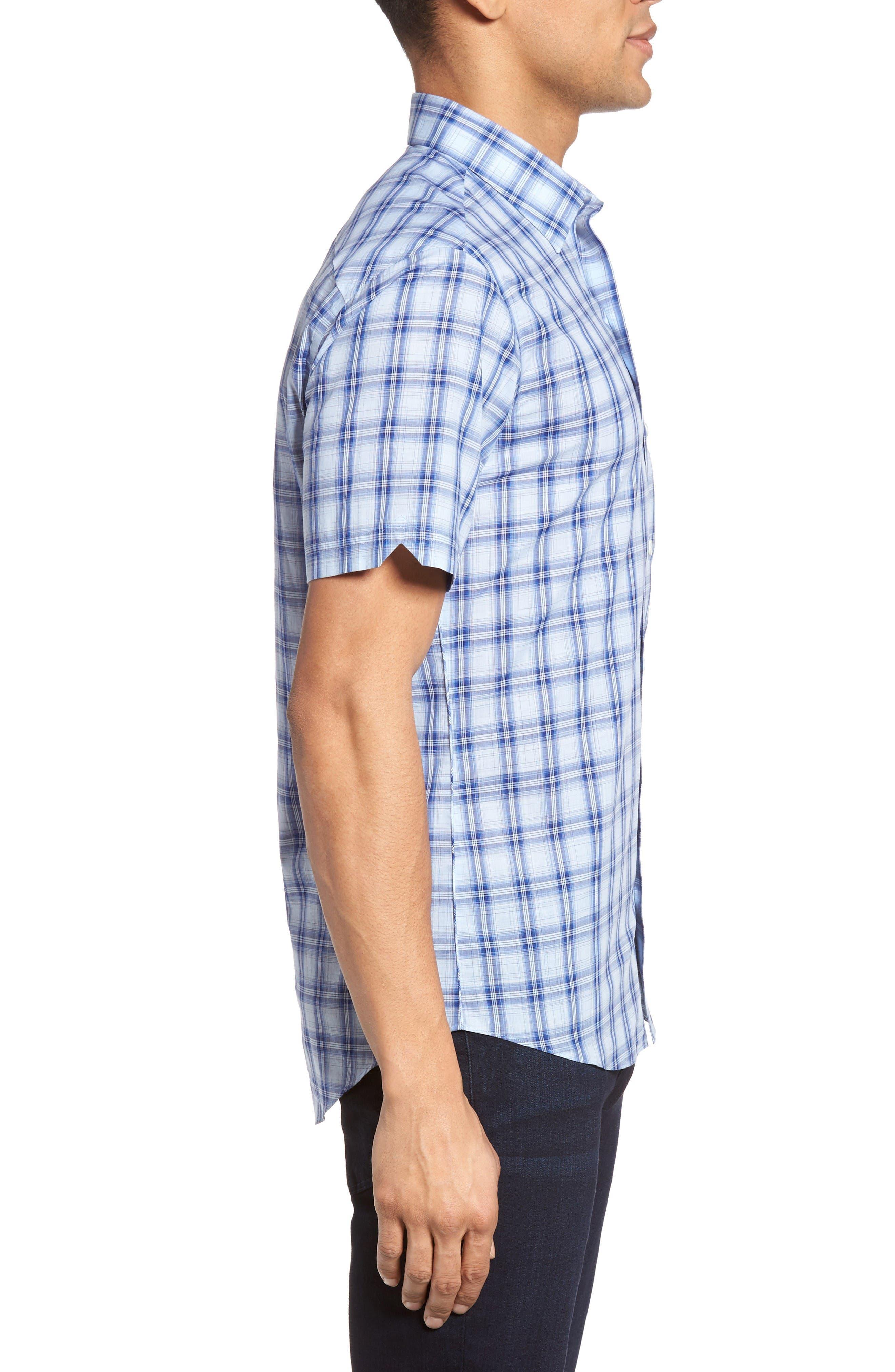 Hwang Trim Fit Plaid Sport Shirt,                             Alternate thumbnail 3, color,                             Pale Blue