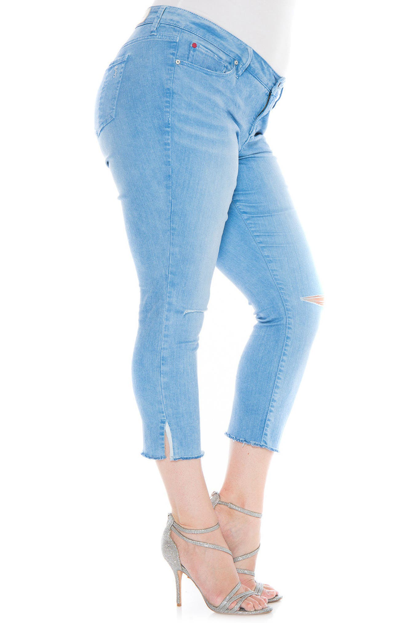 Alternate Image 4  - SLINK Jeans Fray Hem Ripped Crop Skinny Jeans (Plus Size)
