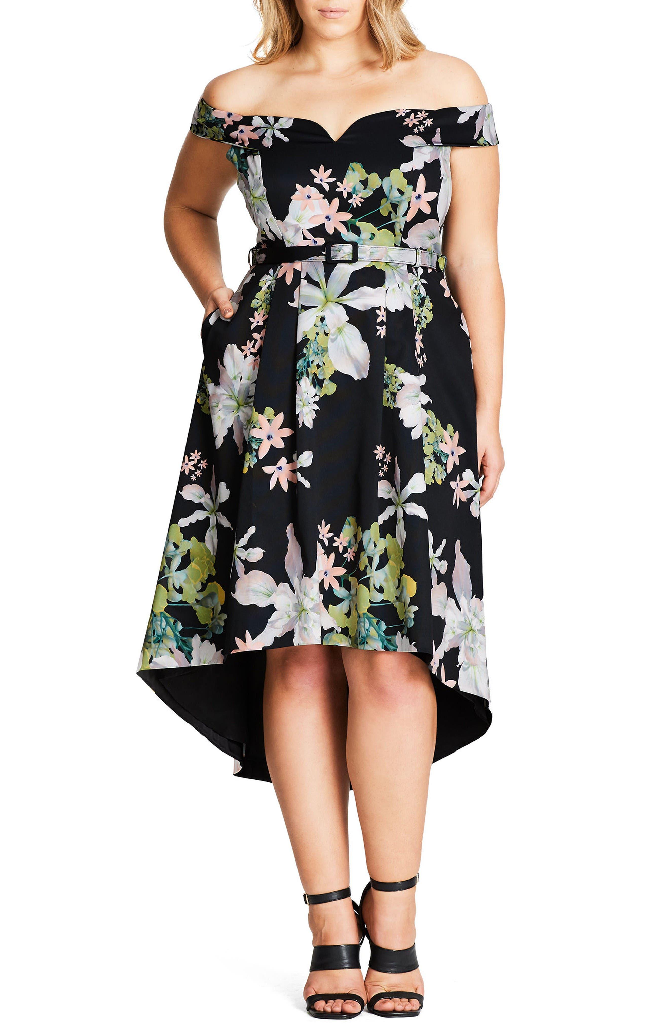 Alternate Image 1 Selected - City Chic Spring Belted Off the Shoulder Dress (Plus Size)