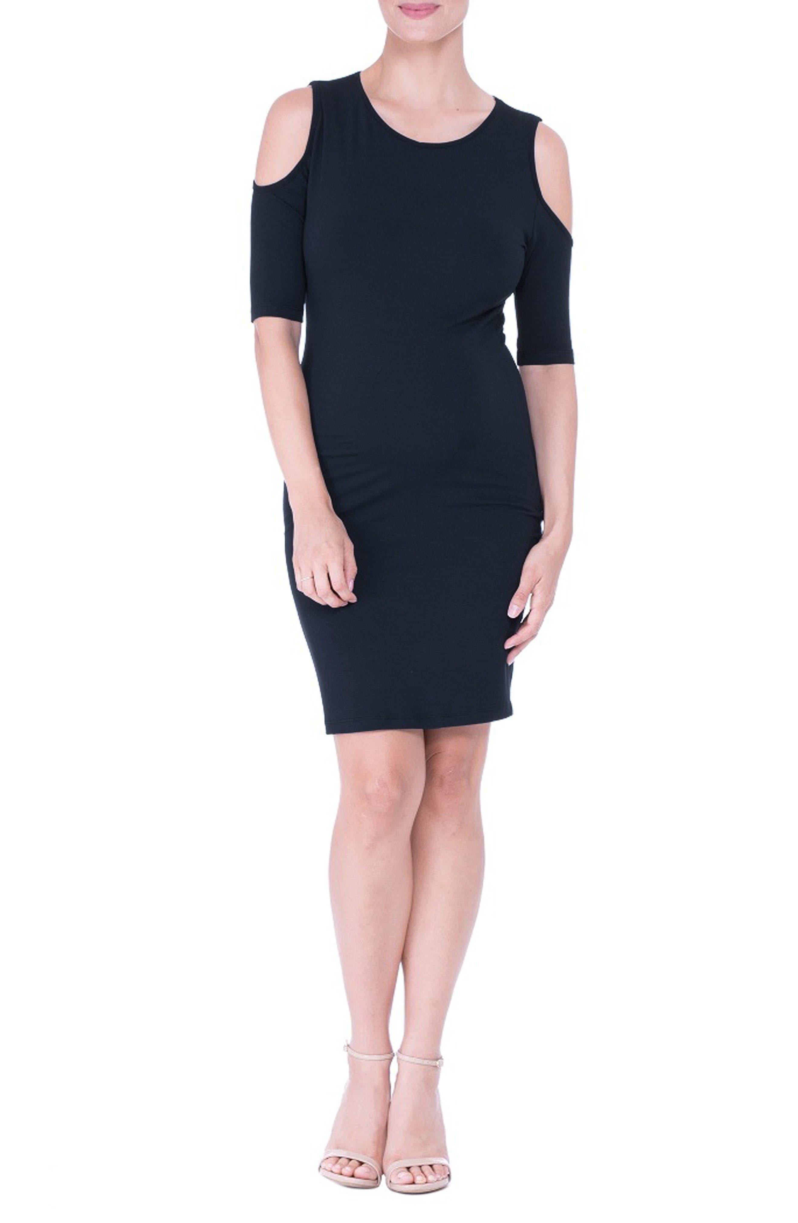 Cold Shoulder Body-Con Maternity Dress,                         Main,                         color, Black
