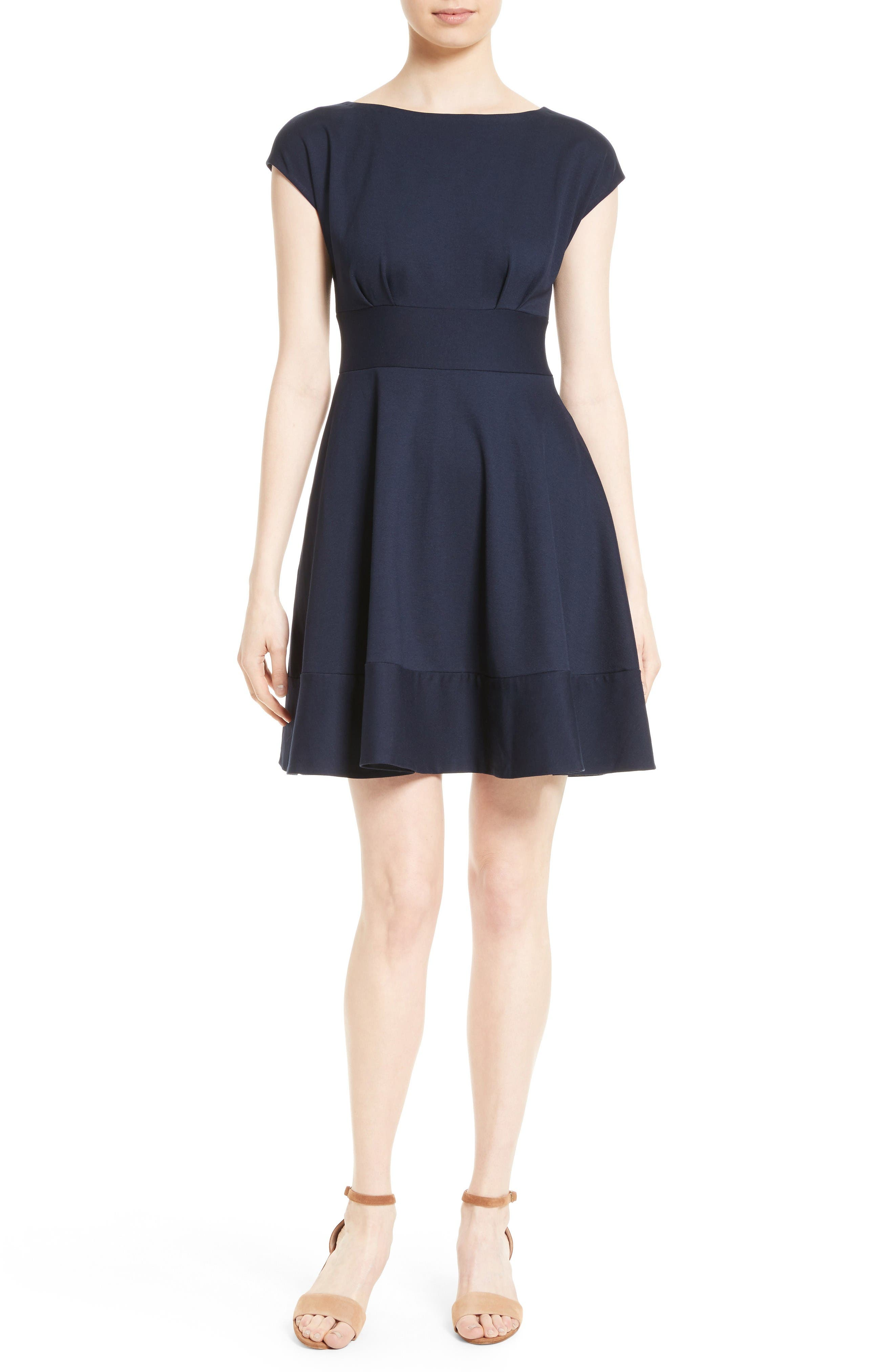 ponte fiorella fit & flare dress,                         Main,                         color, Rich Navy