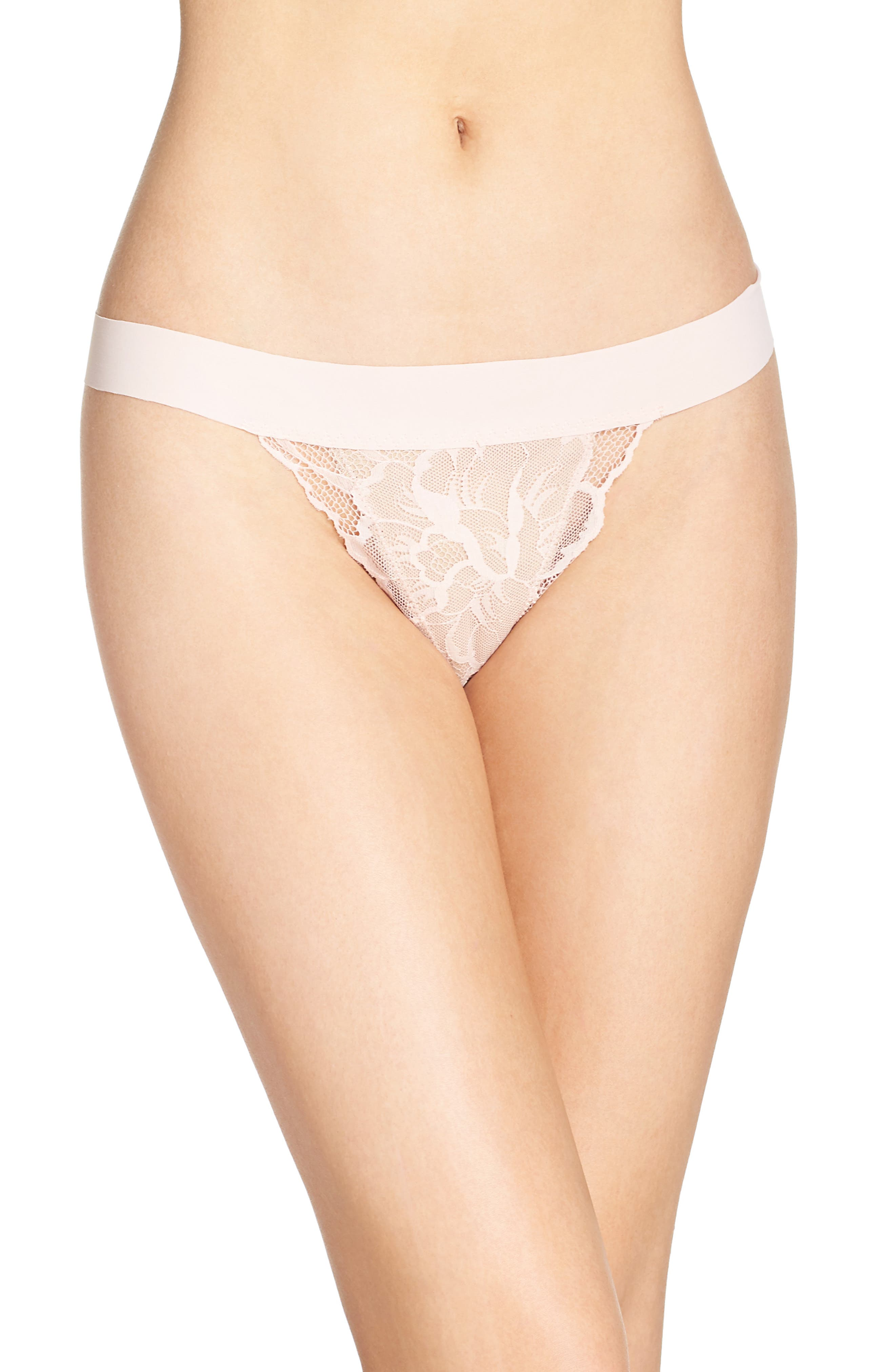 'Double Take' Lace G-String Thong,                         Main,                         color, Blush