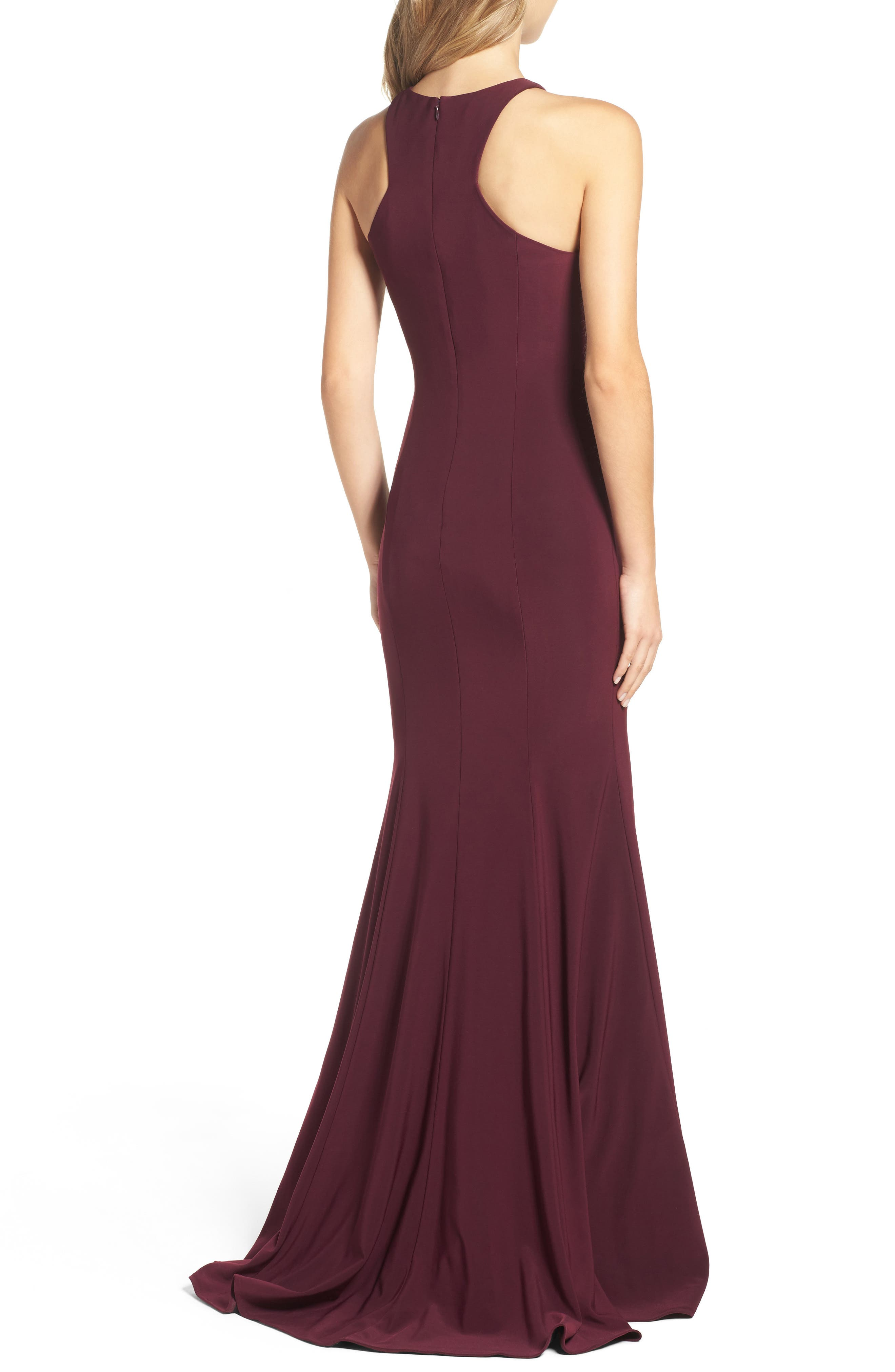 Jersey Cutout Bodice Gown,                             Alternate thumbnail 2, color,                             Wine
