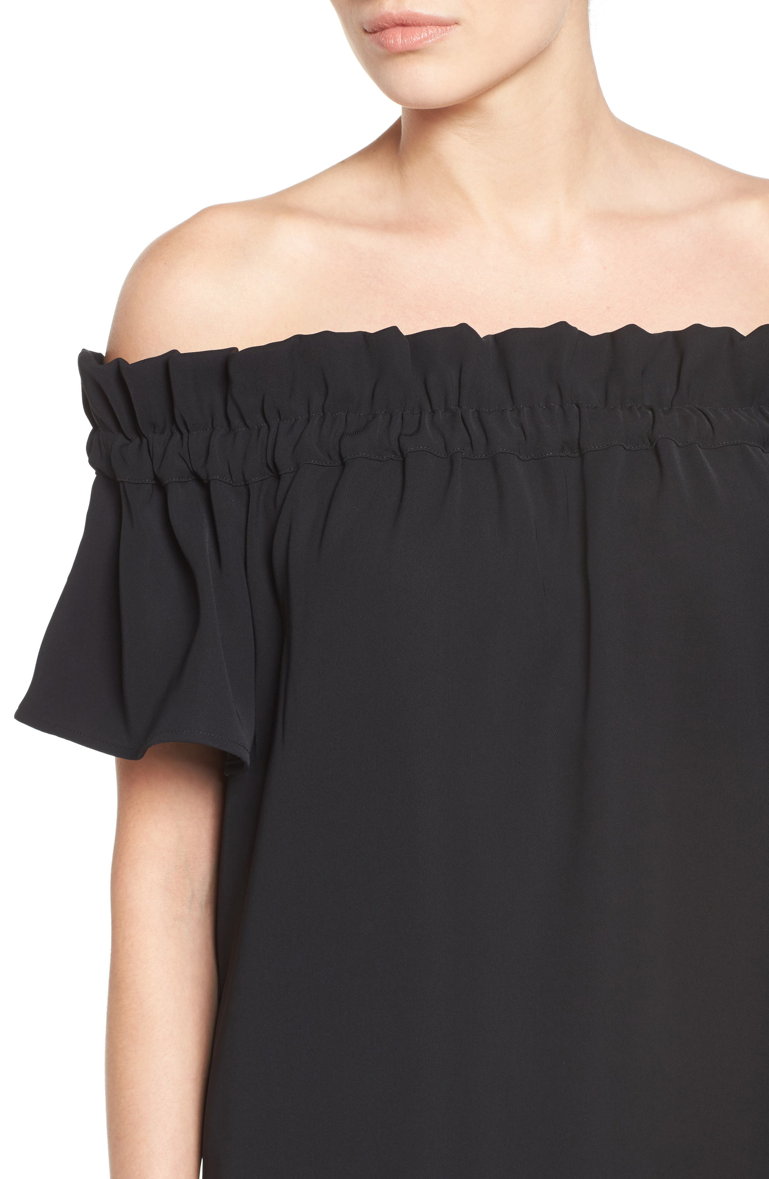 Off the Shoulder Dress,                             Alternate thumbnail 4, color,                             Black