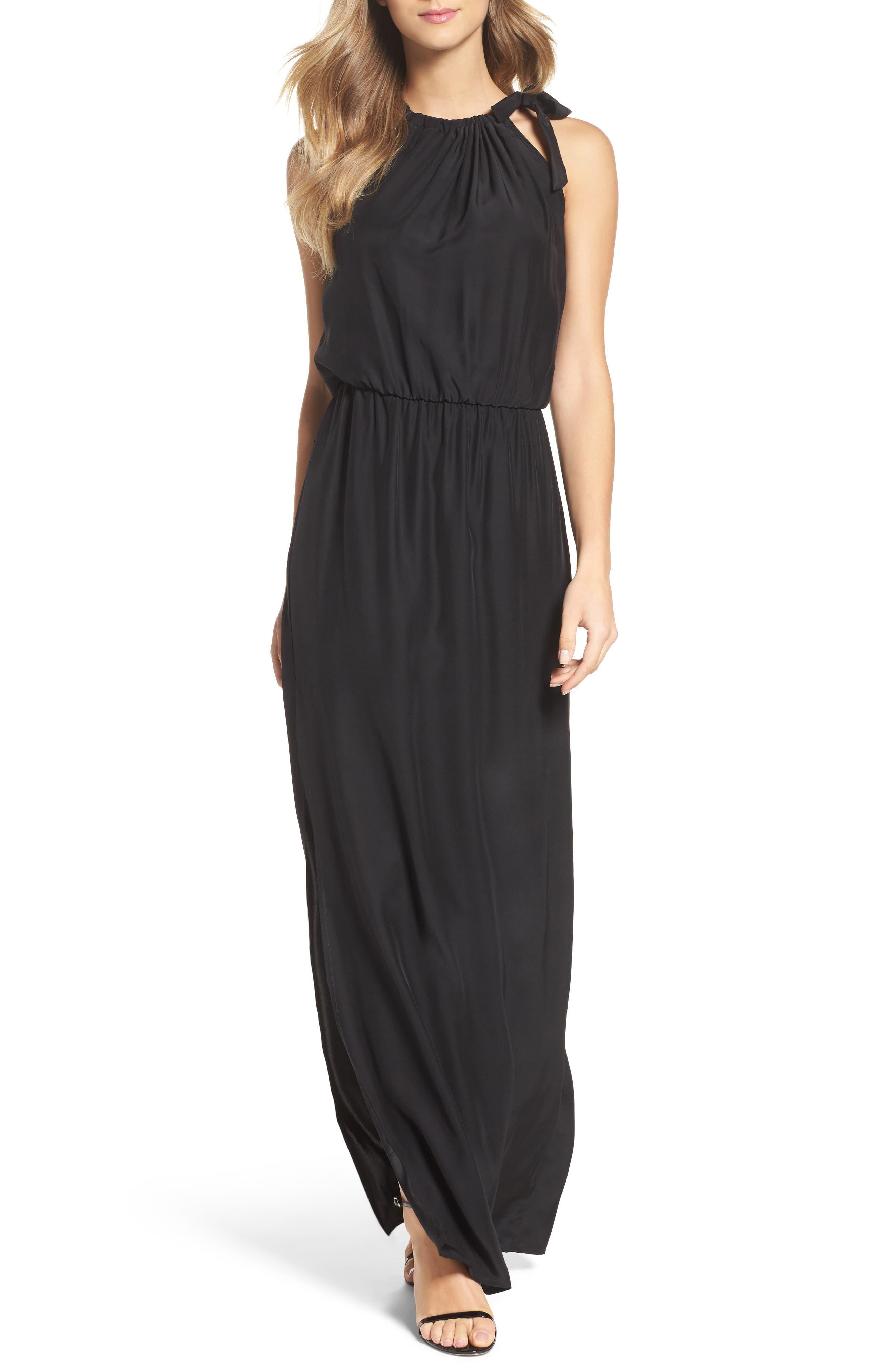 Alternate Image 5  - Natalie Deayala High Neck Silk Column Gown