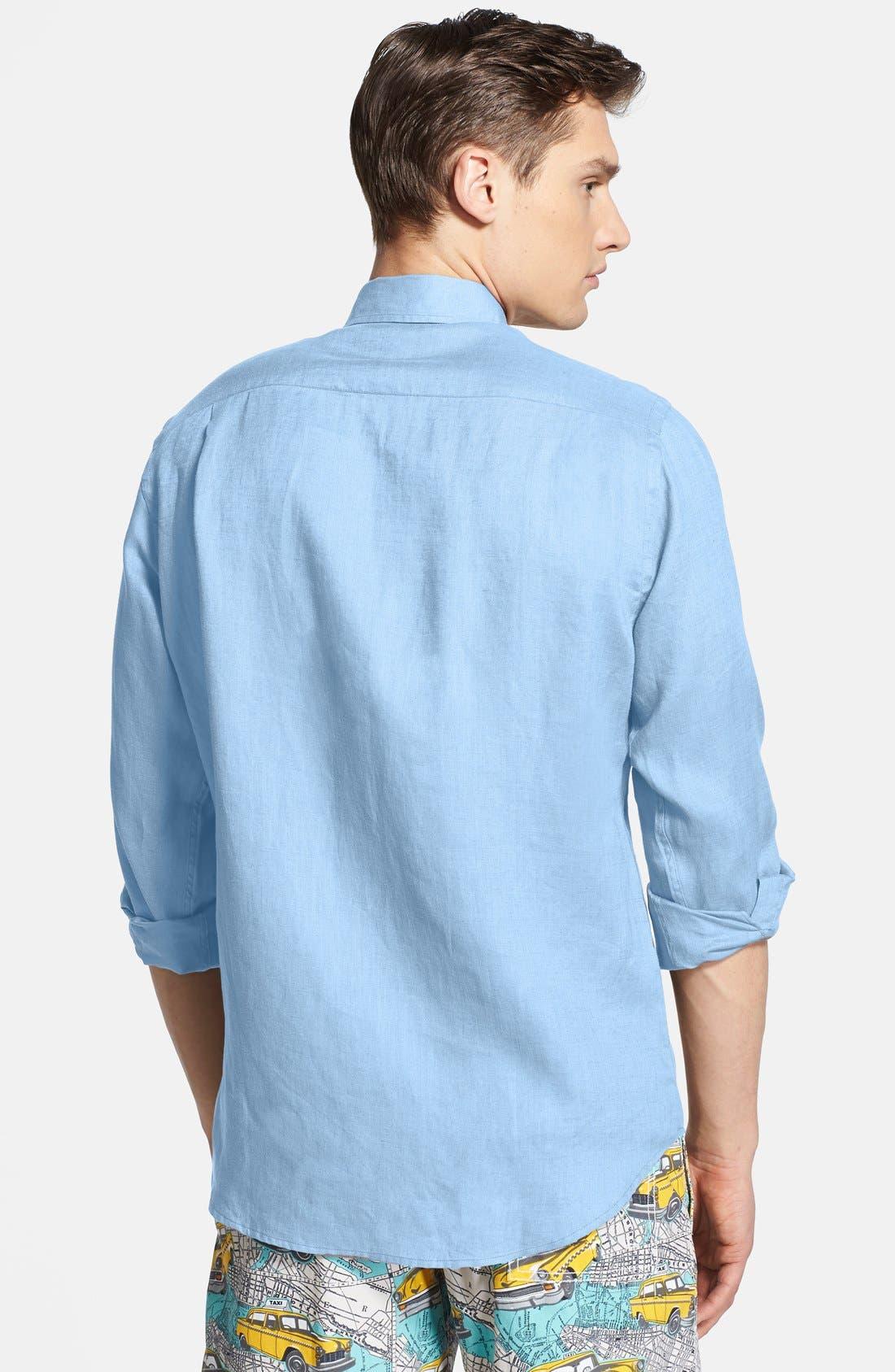 'Caroubier' Linen Shirt,                             Alternate thumbnail 2, color,                             Sky Blue