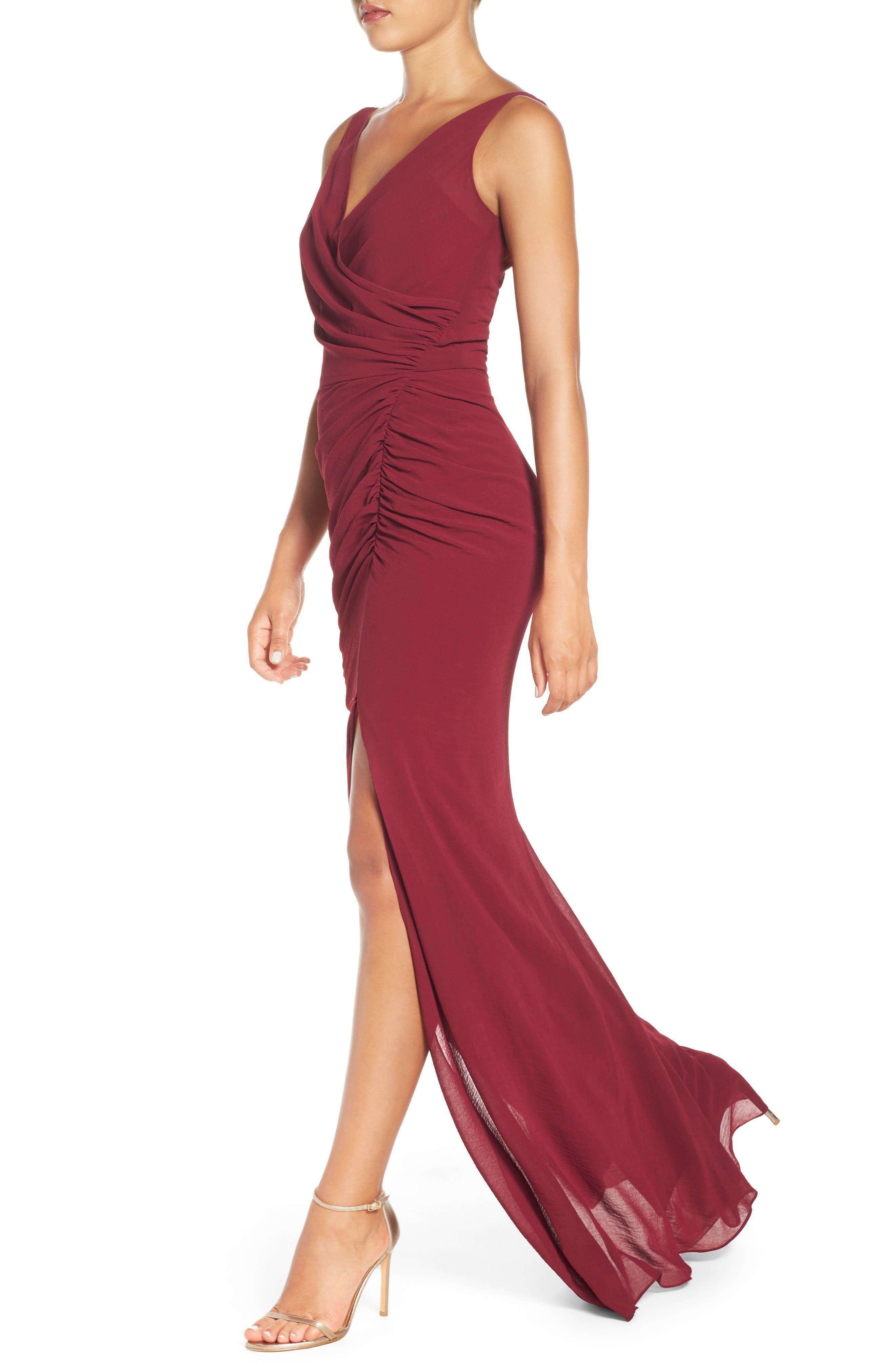 Wrap Front Chiffon Gown,                             Alternate thumbnail 6, color,                             Bordeaux